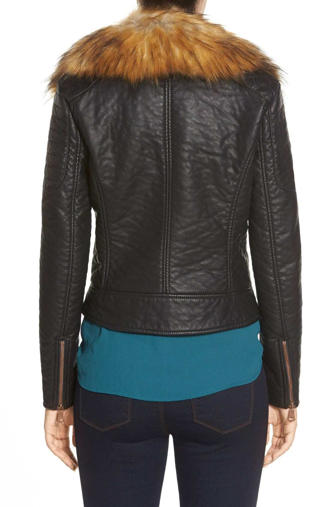 Alternate Image 2  - Marc New York 'Genna' Faux Fur Collar Faux Leather Moto Jacket
