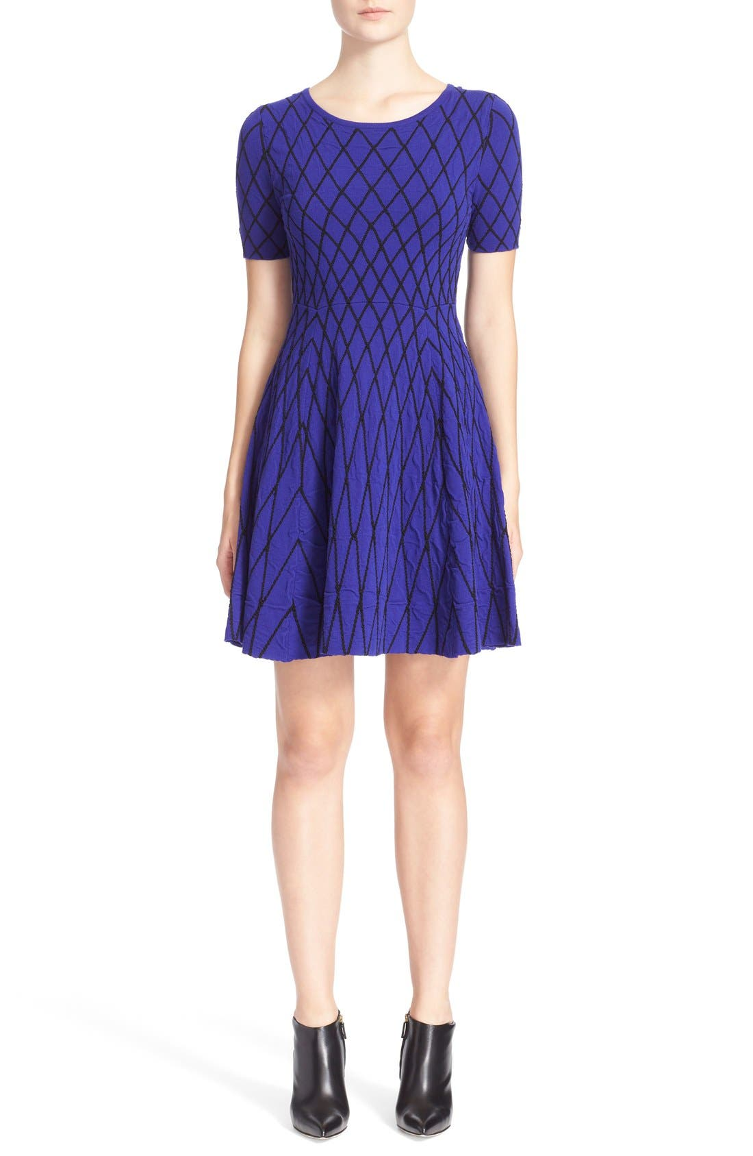 Main Image - Milly Diamond Jacquard Fit & Flare Dress