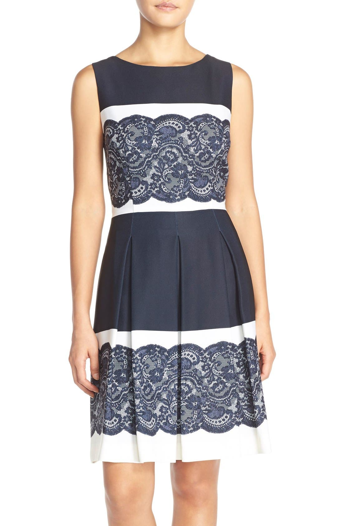 Main Image - Tahari Lace Panel Twill Fit & Flare Dress (Regular & Petite)