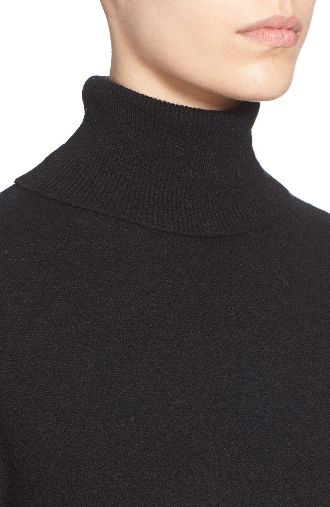 'Oscar' Turtleneck Sweater Dress,                             Alternate thumbnail 4, color,                             Black