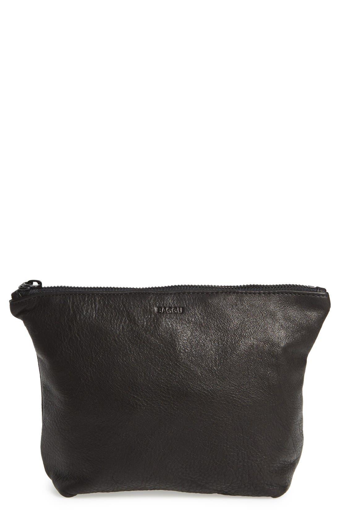 Main Image - Baggu® Medium Leather Zip Pouch