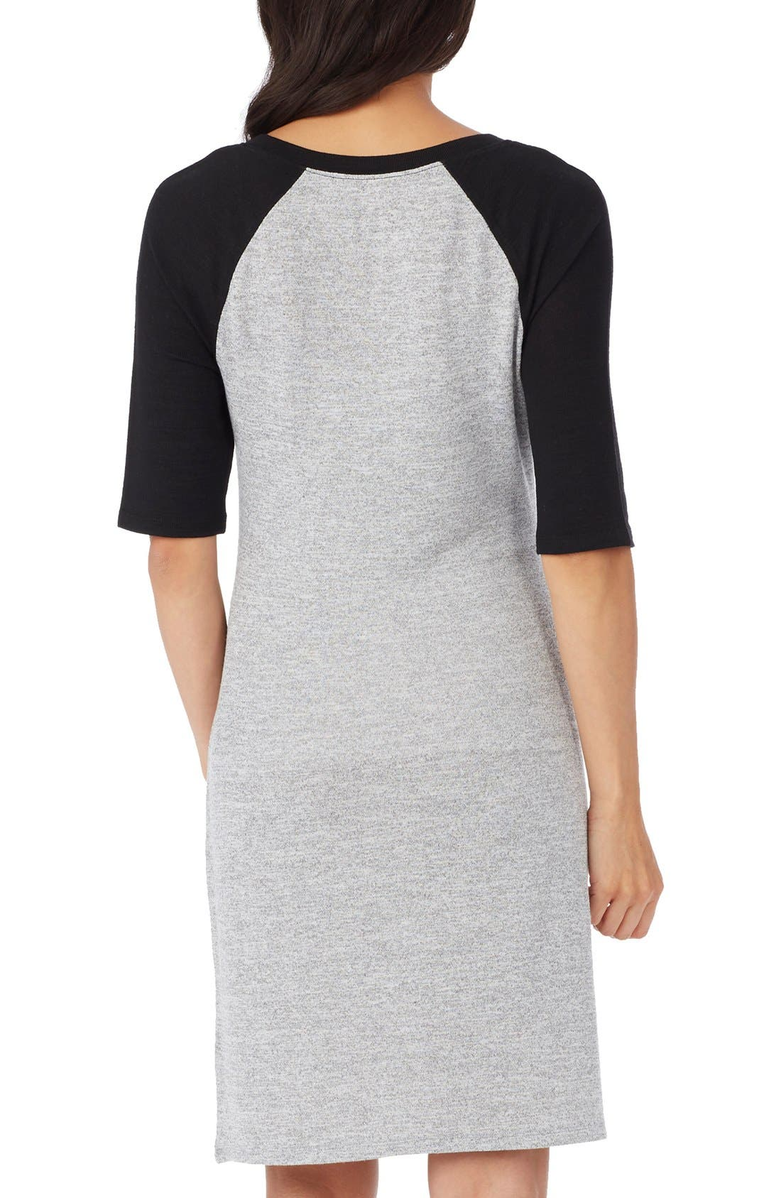 'Derek' Raglan Sleeve Maternity Dress,                             Alternate thumbnail 2, color,                             Heather Grey/ Black Combo