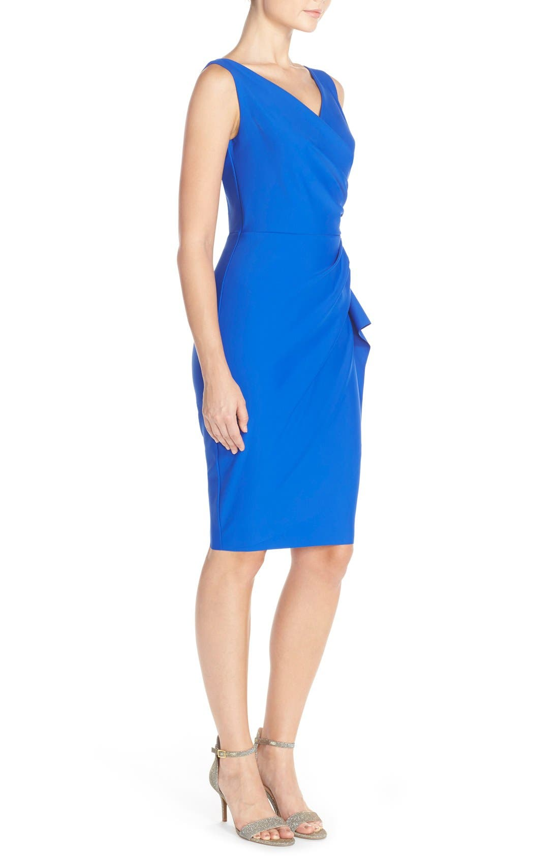 Side Ruched Dress,                             Alternate thumbnail 3, color,                             Royal