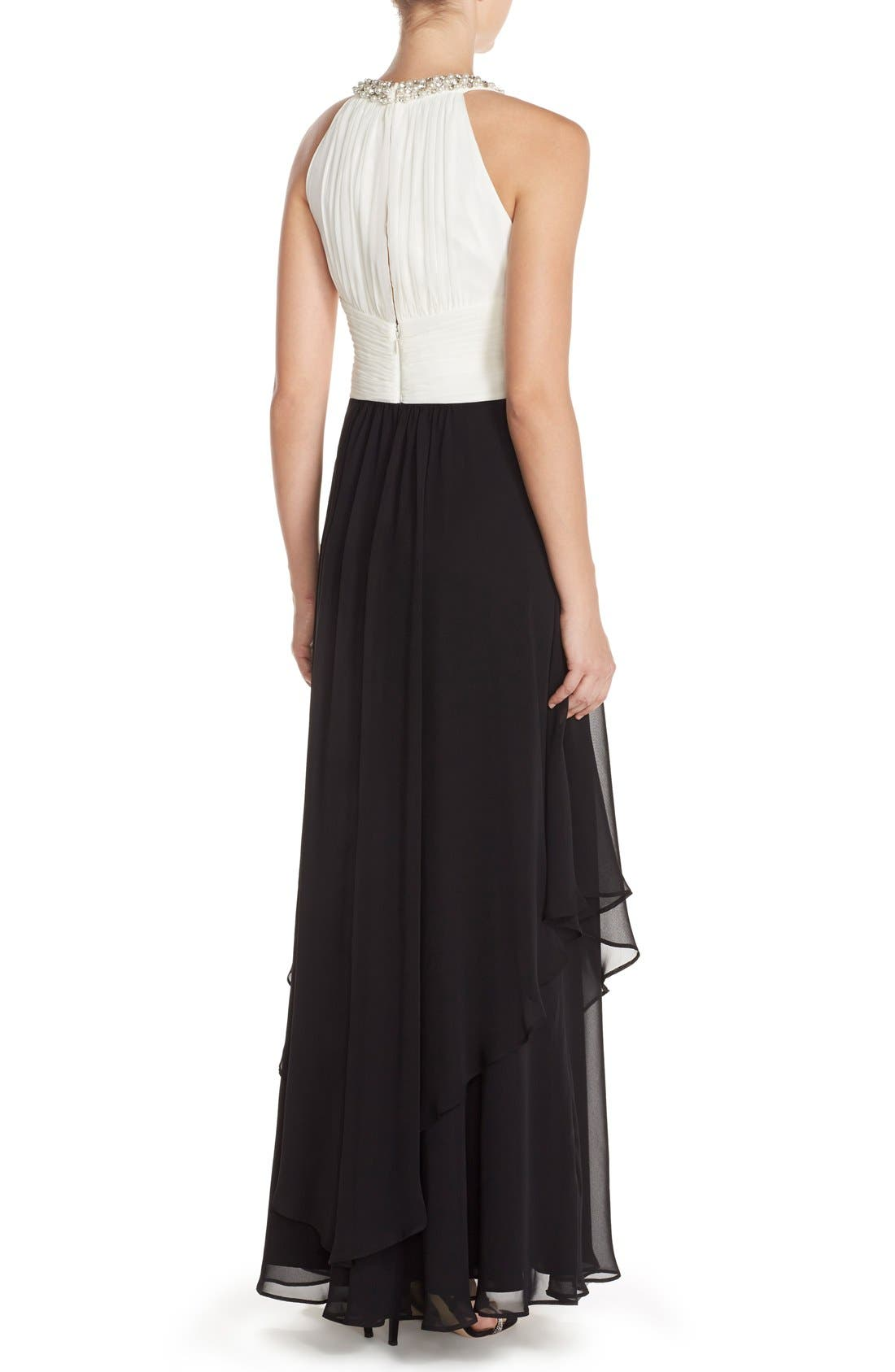 Embellished Colorblock Chiffon Gown,                             Alternate thumbnail 2, color,                             Black/ White