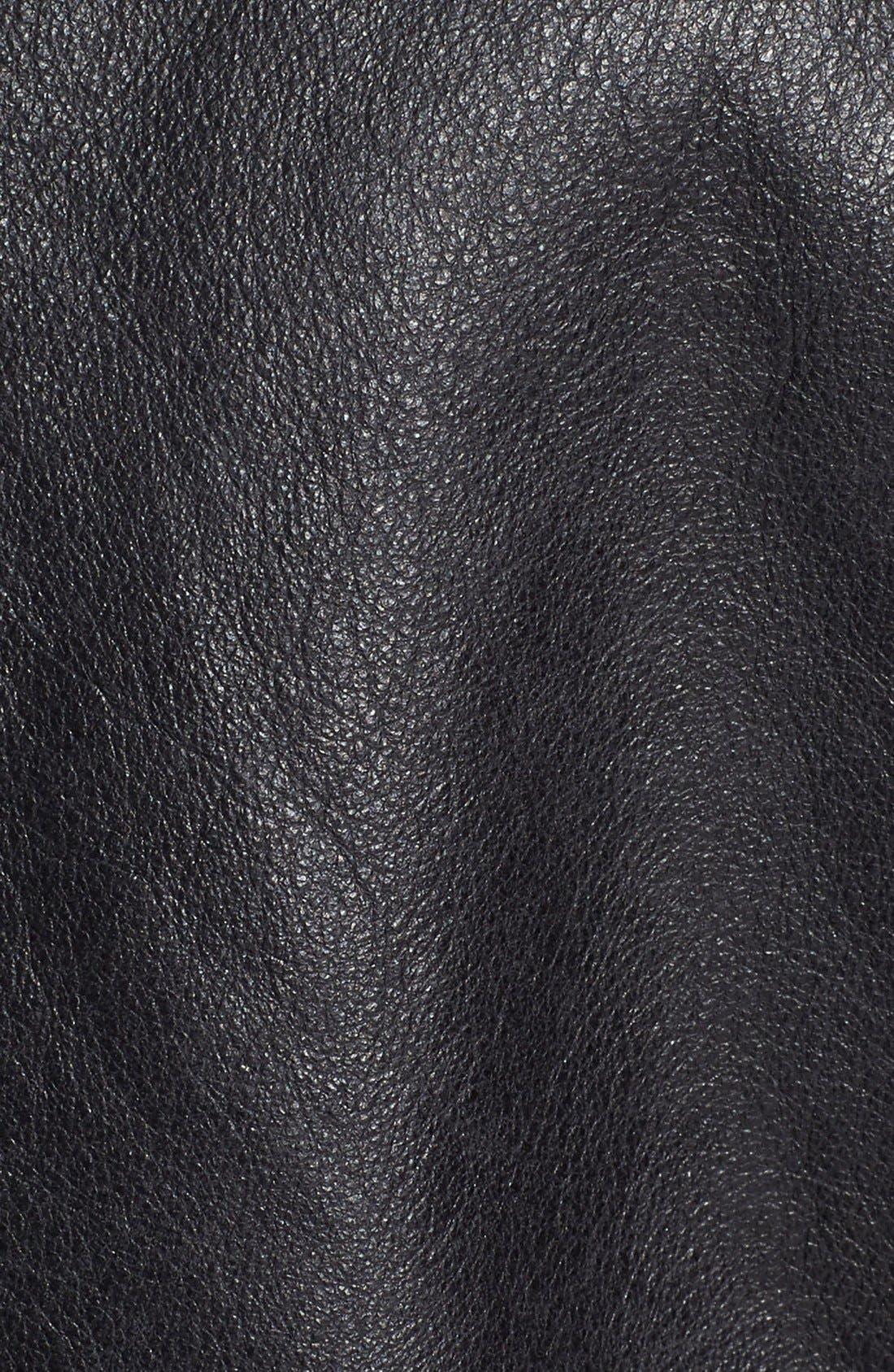 Café Racer Hand Vintaged Cowhide Leather Jacket,                             Alternate thumbnail 5, color,                             Black