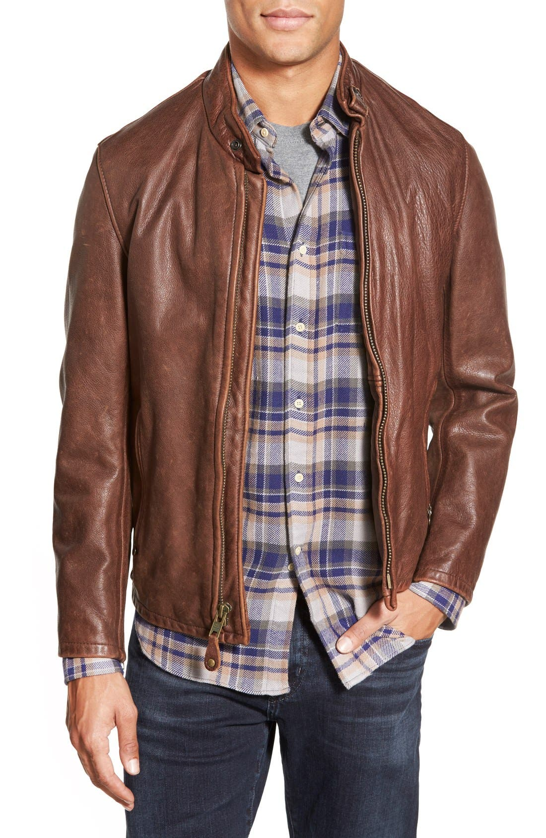 Schott NYC Café Racer Slim Fit Leather Jacket