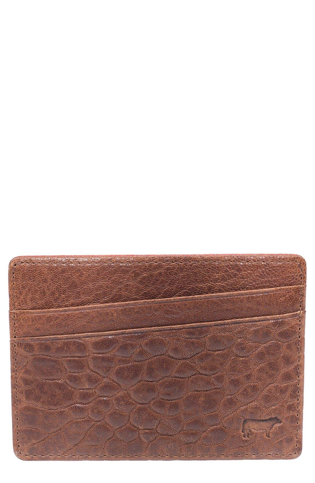 'Quip' Leather Card Case,                         Main,                         color, Cognac/ Rust