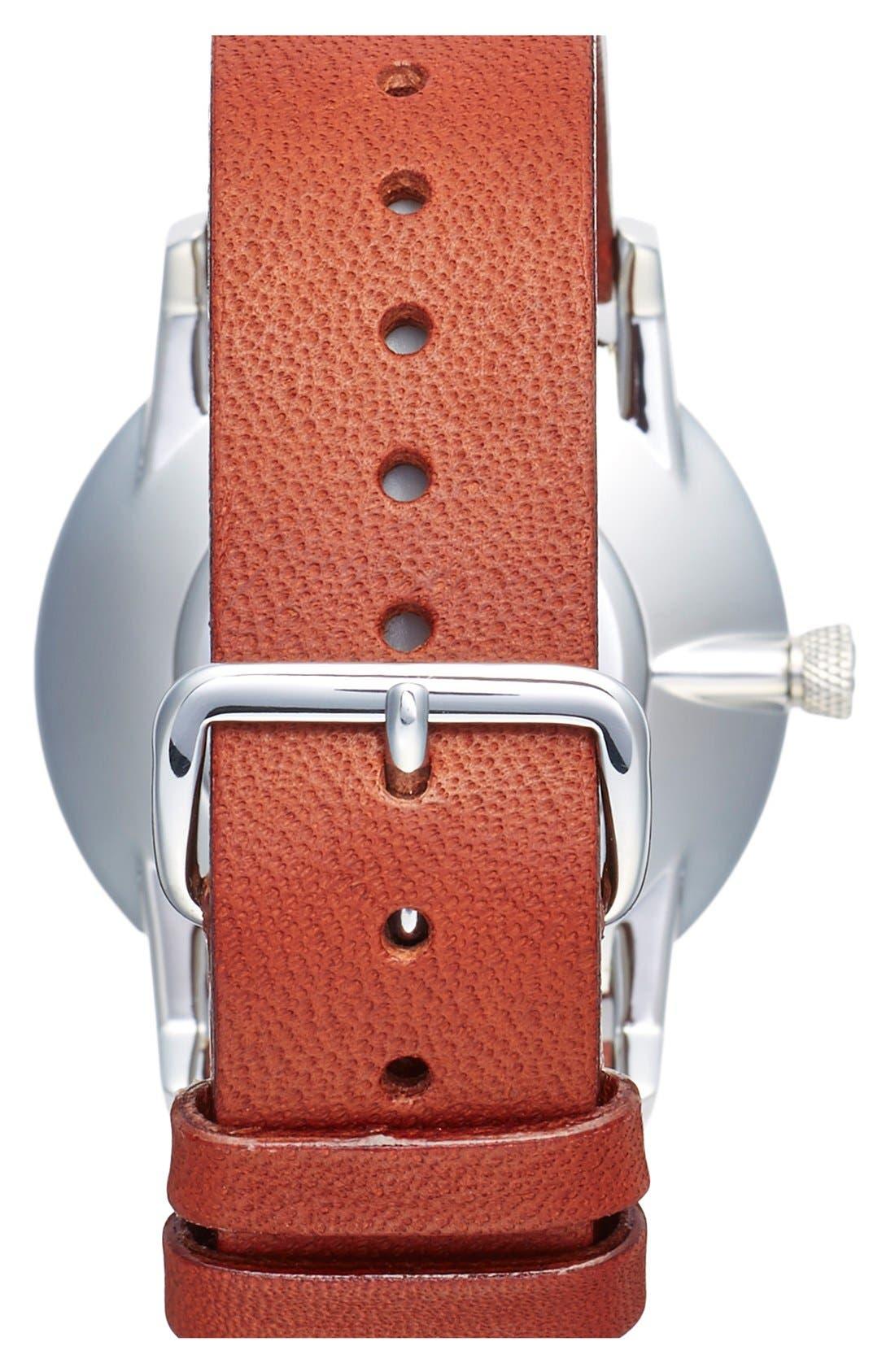 Ivory Falken Organic Leather Strap Watch, 38mm,                             Alternate thumbnail 4, color,                             Cognac/ Silver/ White