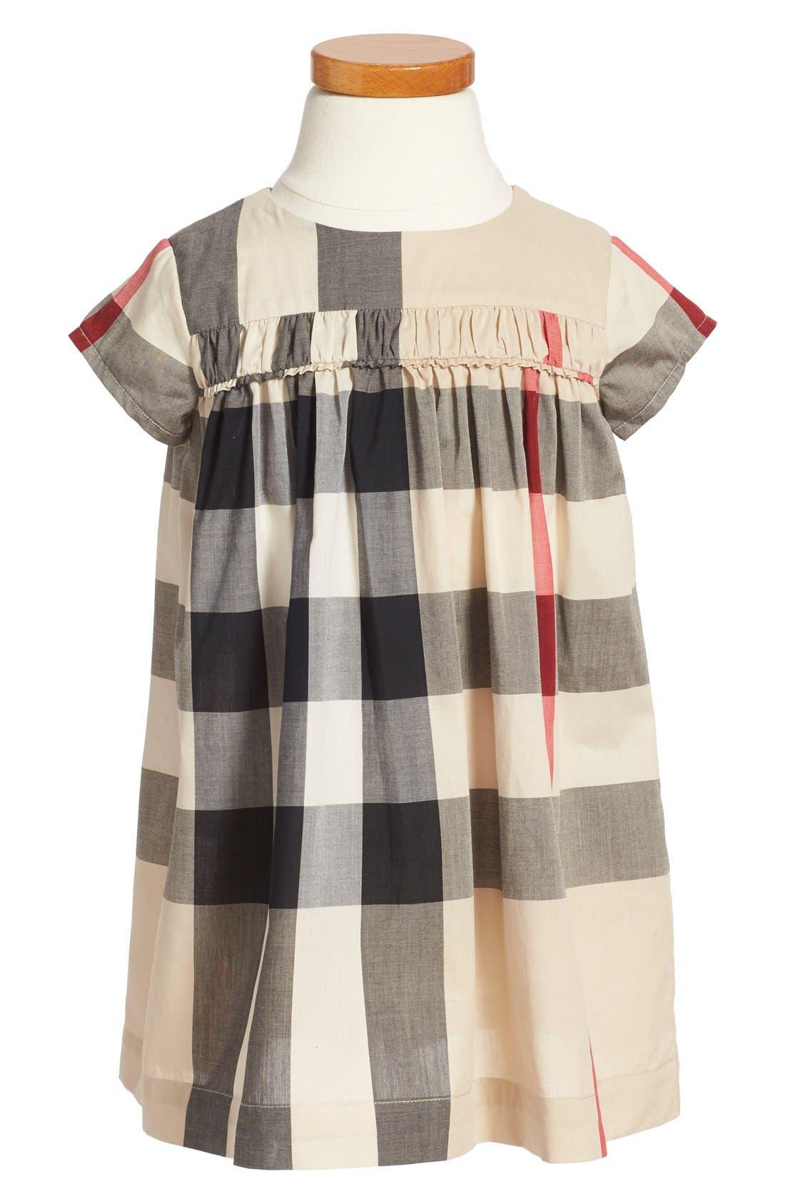 Main Image - Burberry 'Ariadne' Check Woven Dress (Toddler Girls)