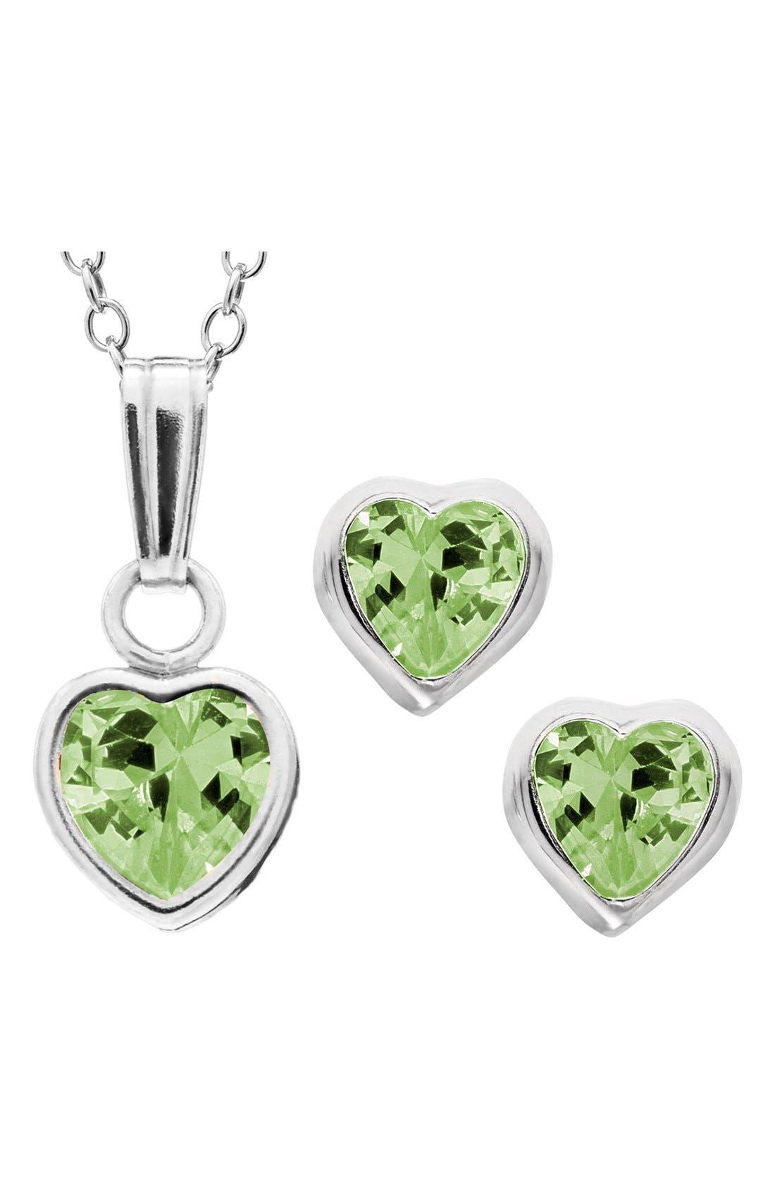 Mignonette Sterling Silver & Cubic Zirconia Birthstone Necklace & Earrings Set (Girls)