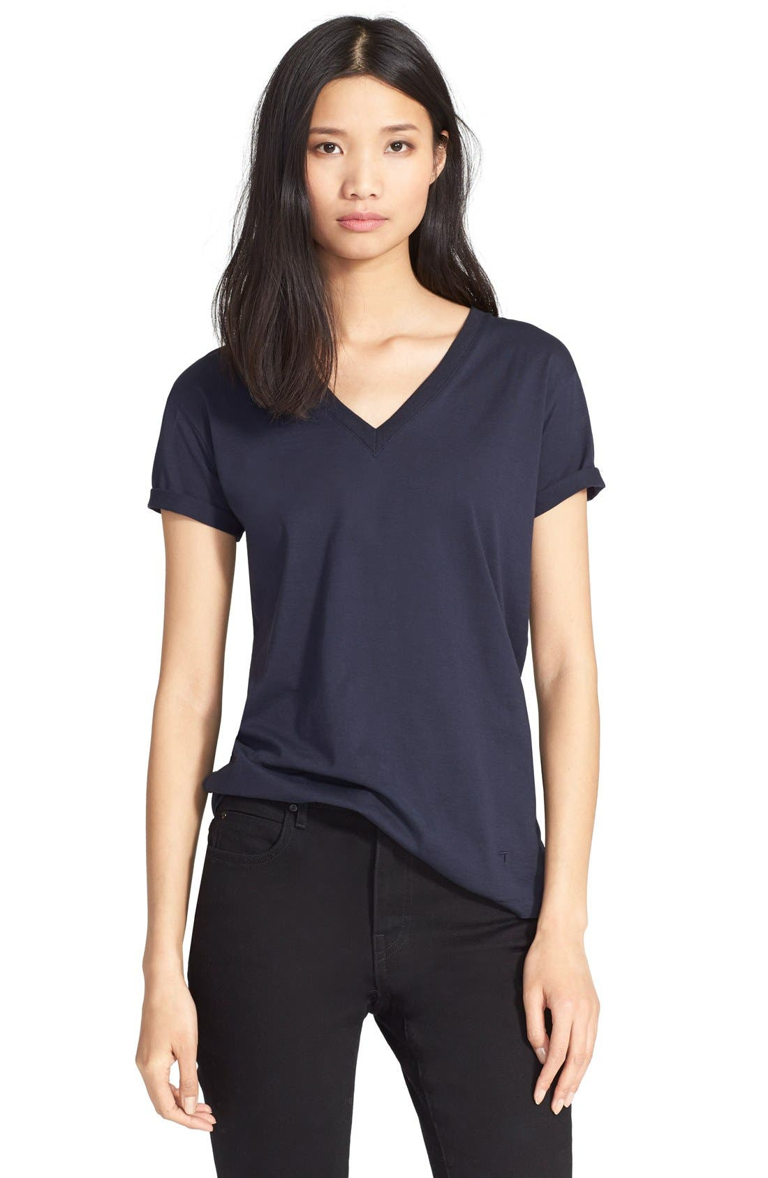 Cotton Jersey V-Neck Tee,                             Main thumbnail 1, color,                             Ink