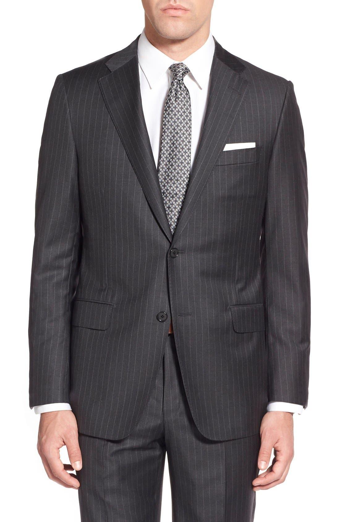 'Beacon - B Series' Classic Fit Stripe Wool Suit,                             Alternate thumbnail 4, color,                             Grey
