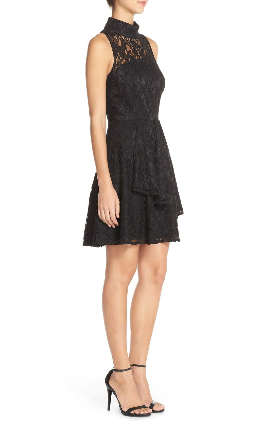 Alternate Image 3  - Adelyn Rae Mock Neck Lace Fit & Flare Dress