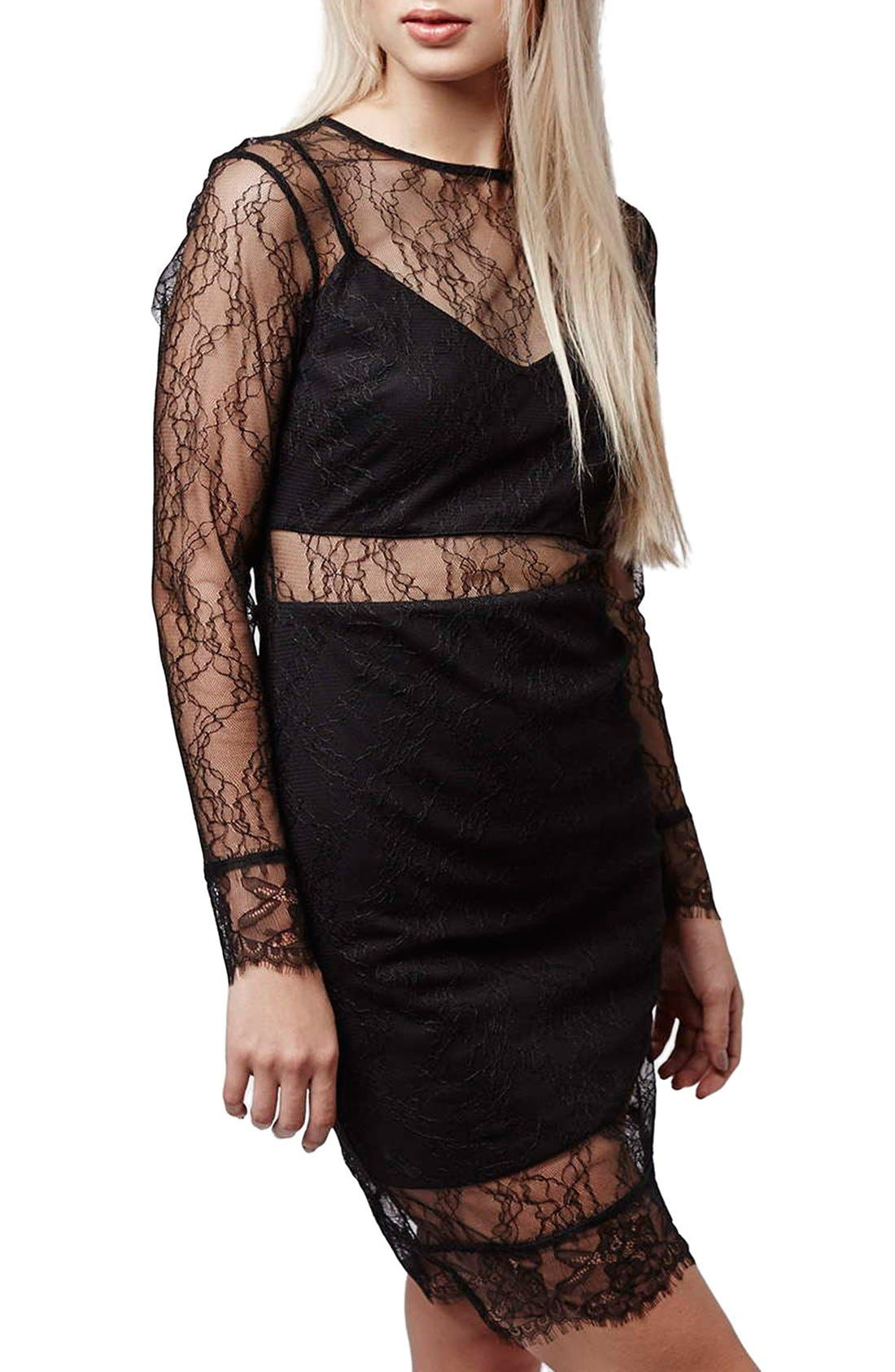 Alternate Image 4  - Topshop Lace Overlay Body-Con Dress (Regular & Petite)