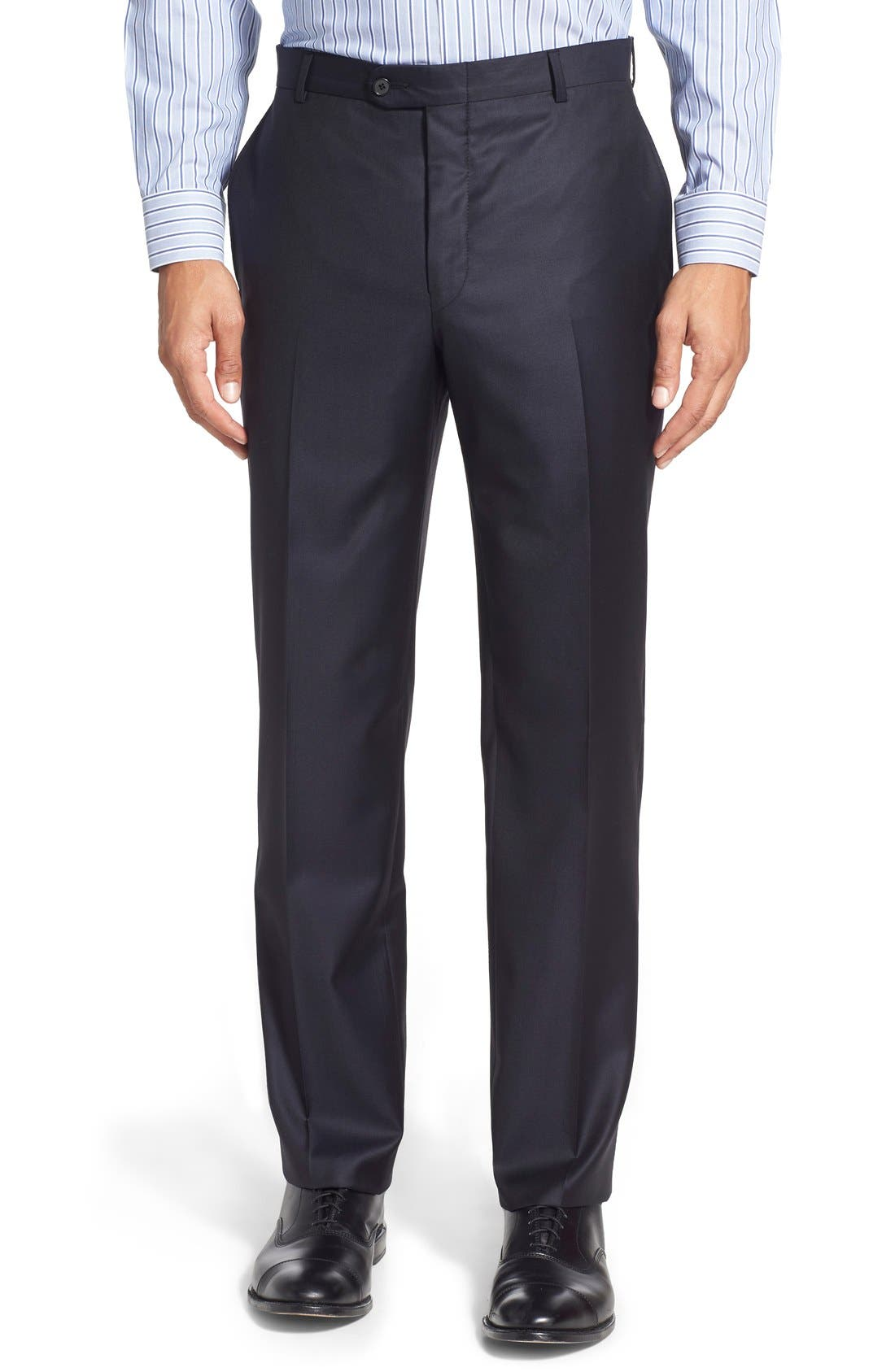 Classic B Fit Solid Wool Suit,                             Alternate thumbnail 5, color,                             Navy