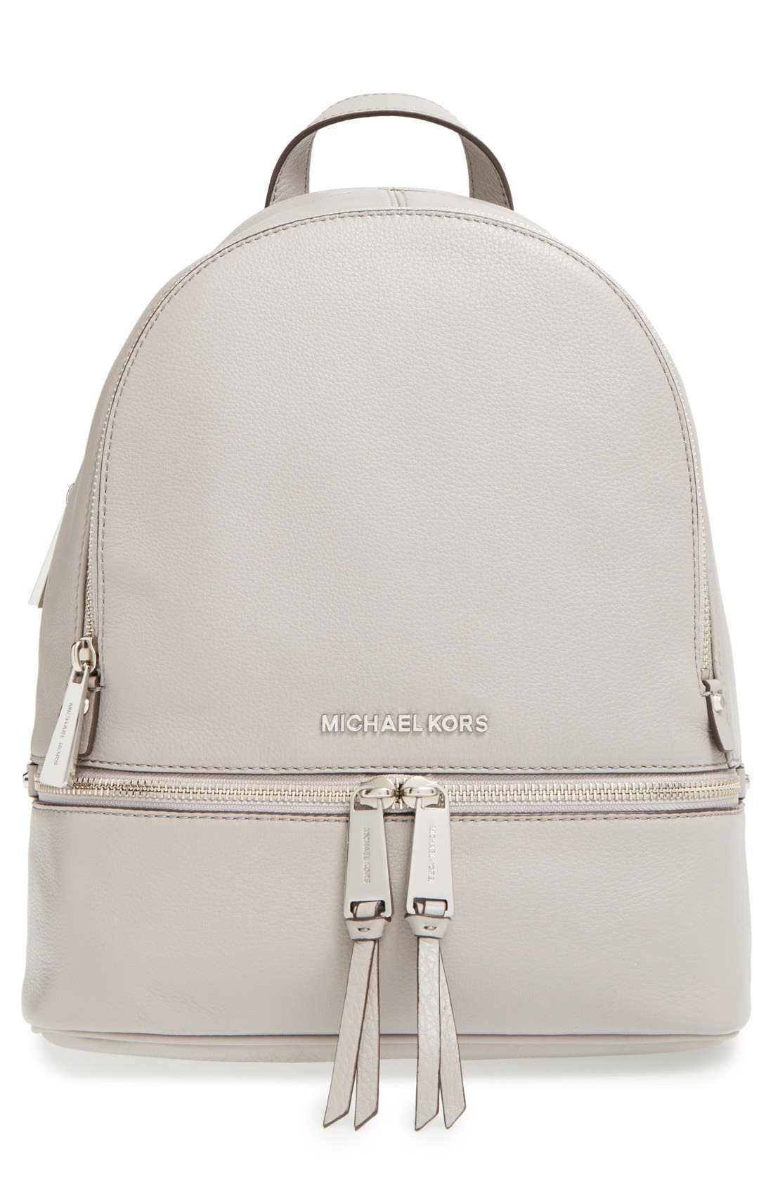 'Small Rhea Zip' Leather Backpack,                             Main thumbnail 1, color,                             Pearl Grey/ Silver