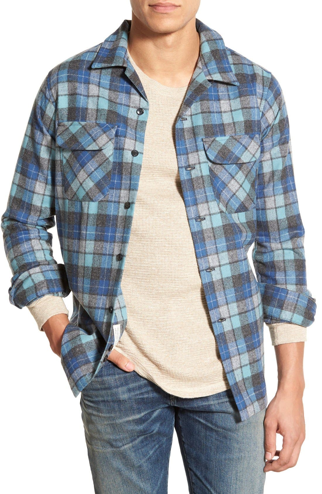 'Board' Regular Fit Flannel Shirt,                         Main,                         color, Blue Original Surf Plaid