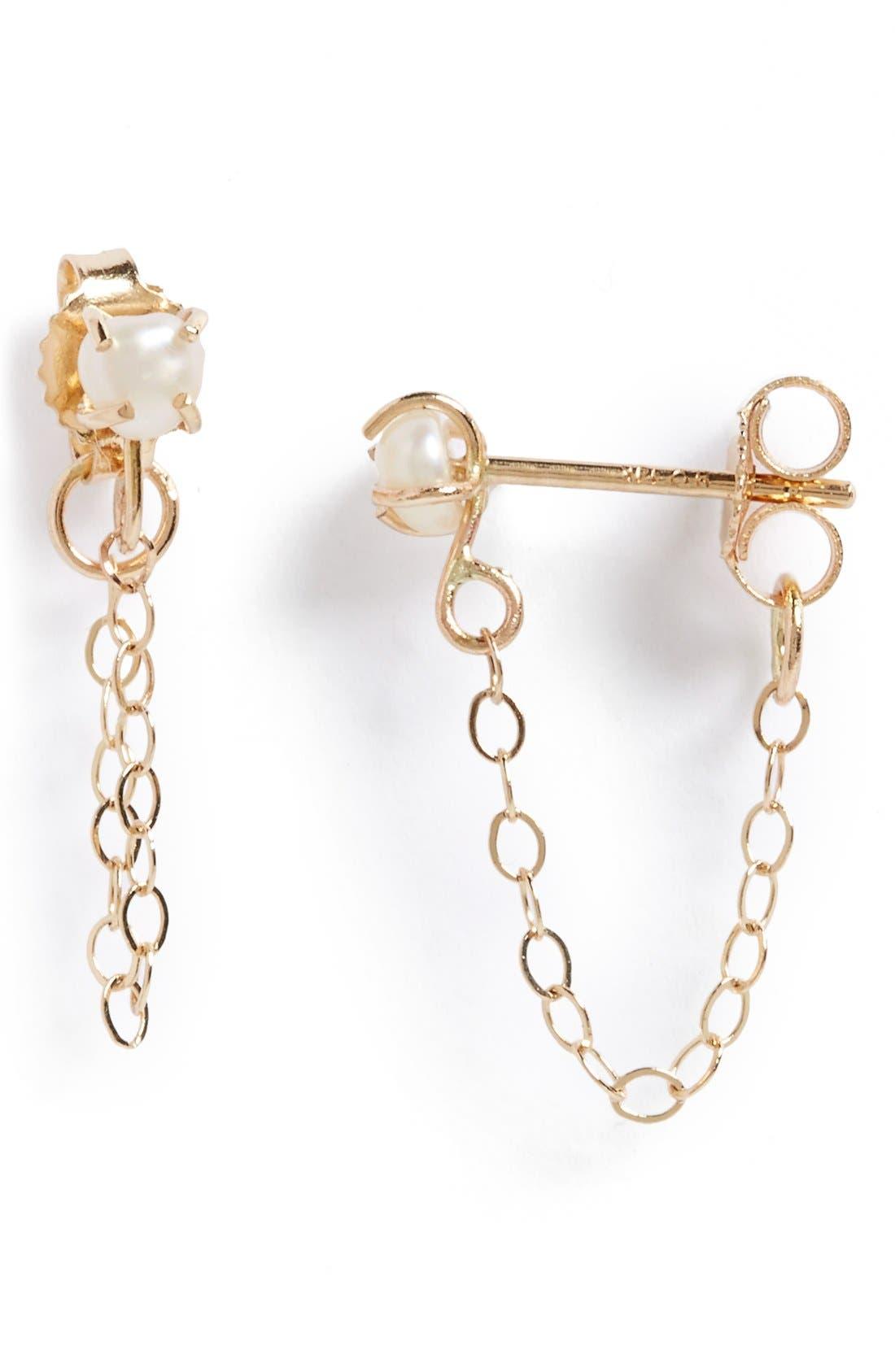 Keshi Pearl Ear Chains,                             Main thumbnail 1, color,                             Keshi Pearl/ Yellow Gold