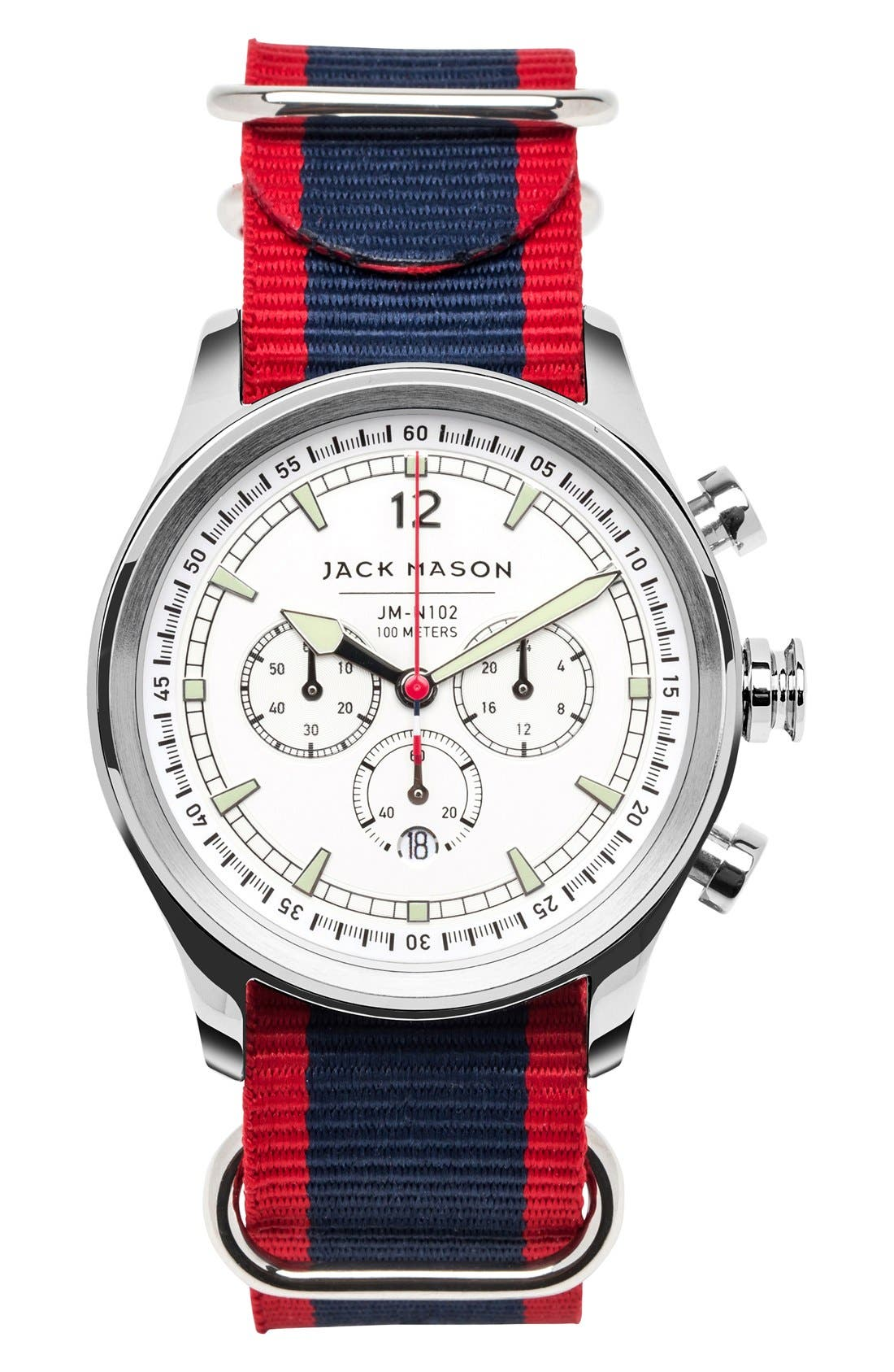 Nautical Chronograph NATO Strap Watch, 42mm,                         Main,                         color, White/ Blue Stripe