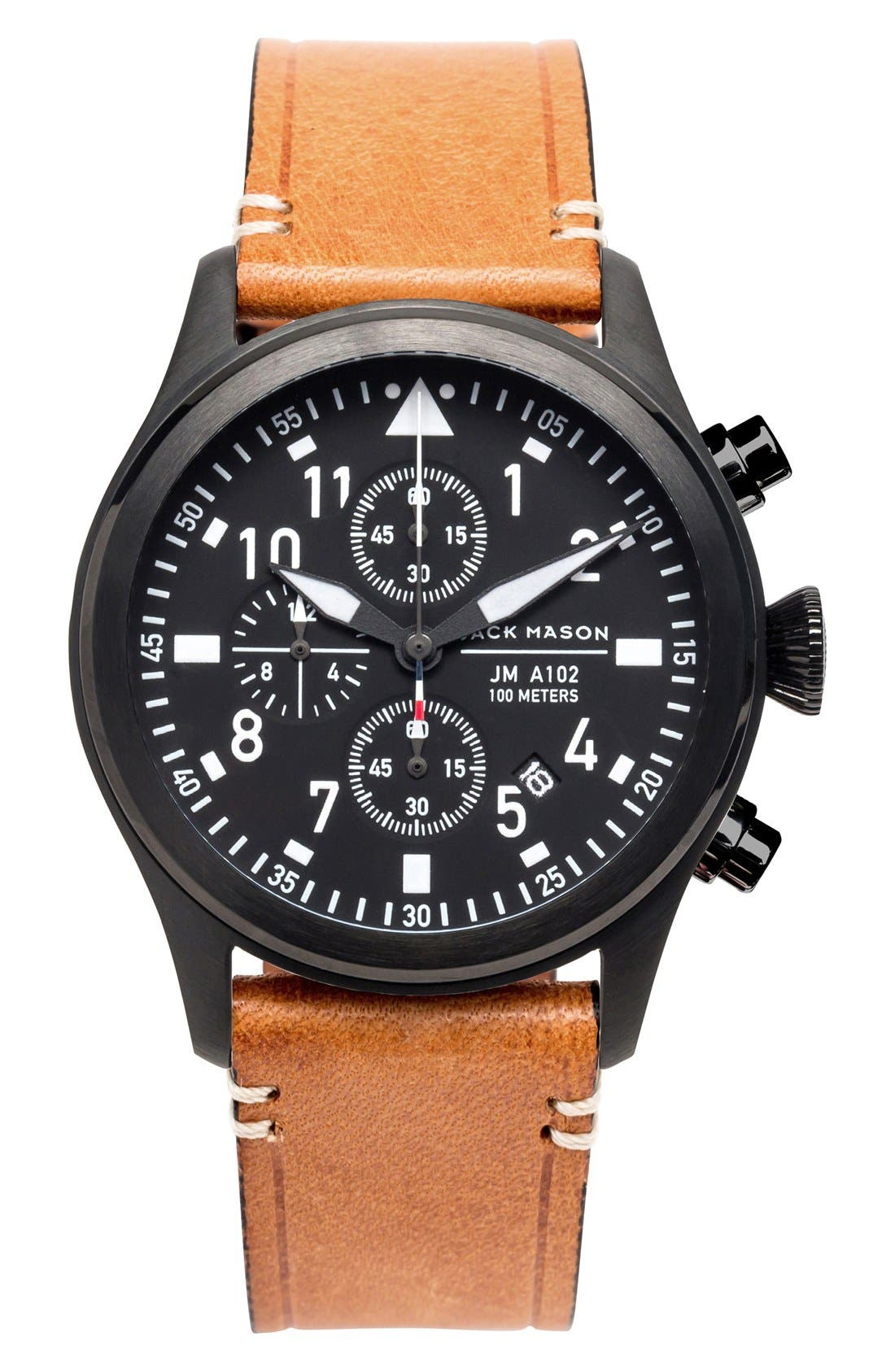 Chronograph Leather Strap Watch, 42mm,                             Main thumbnail 1, color,                             Black/ Black/ Tan