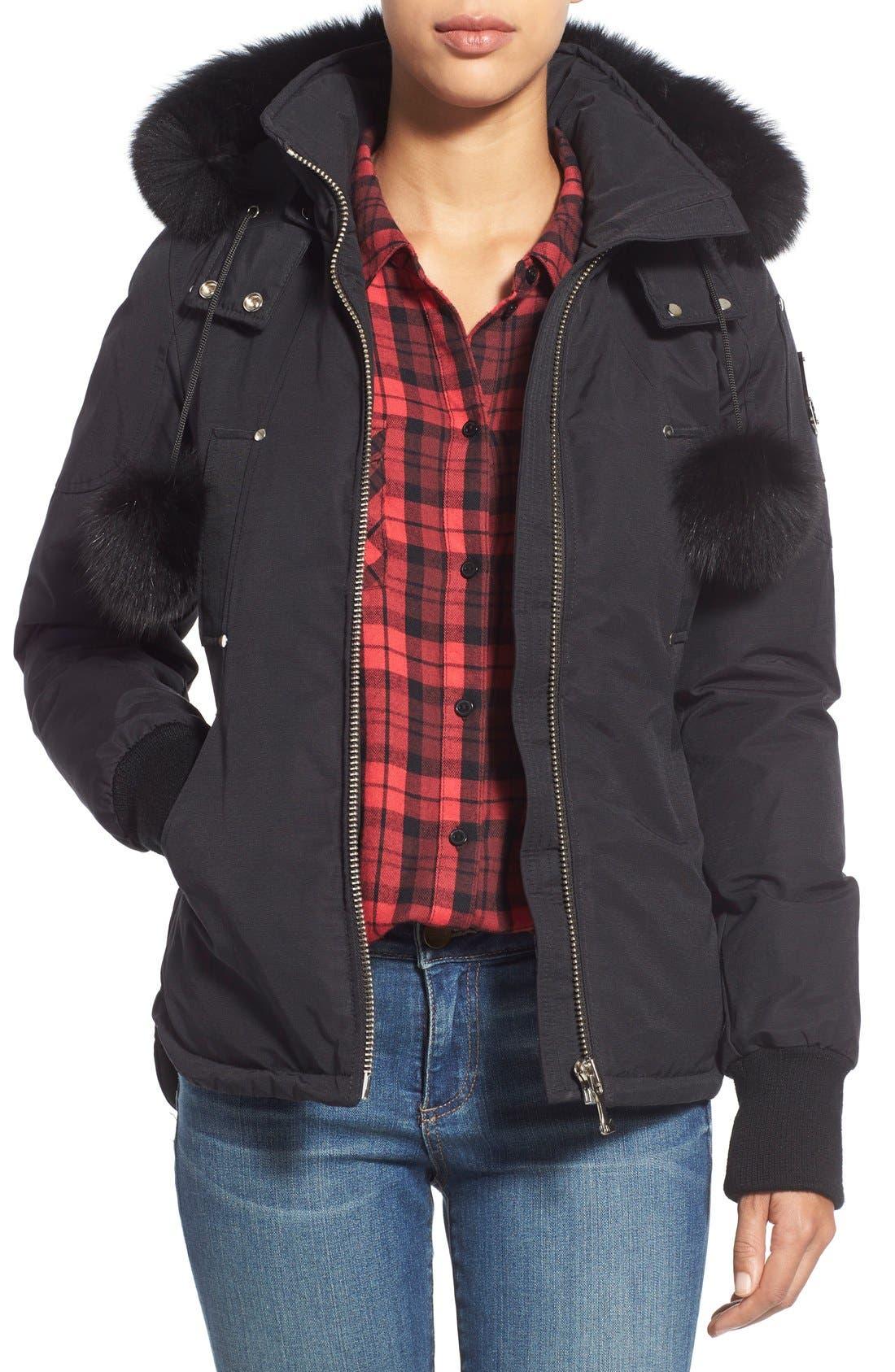 Genuine Fox Fur Trim Hooded Down Jacket,                         Main,                         color, Black W Black Fur