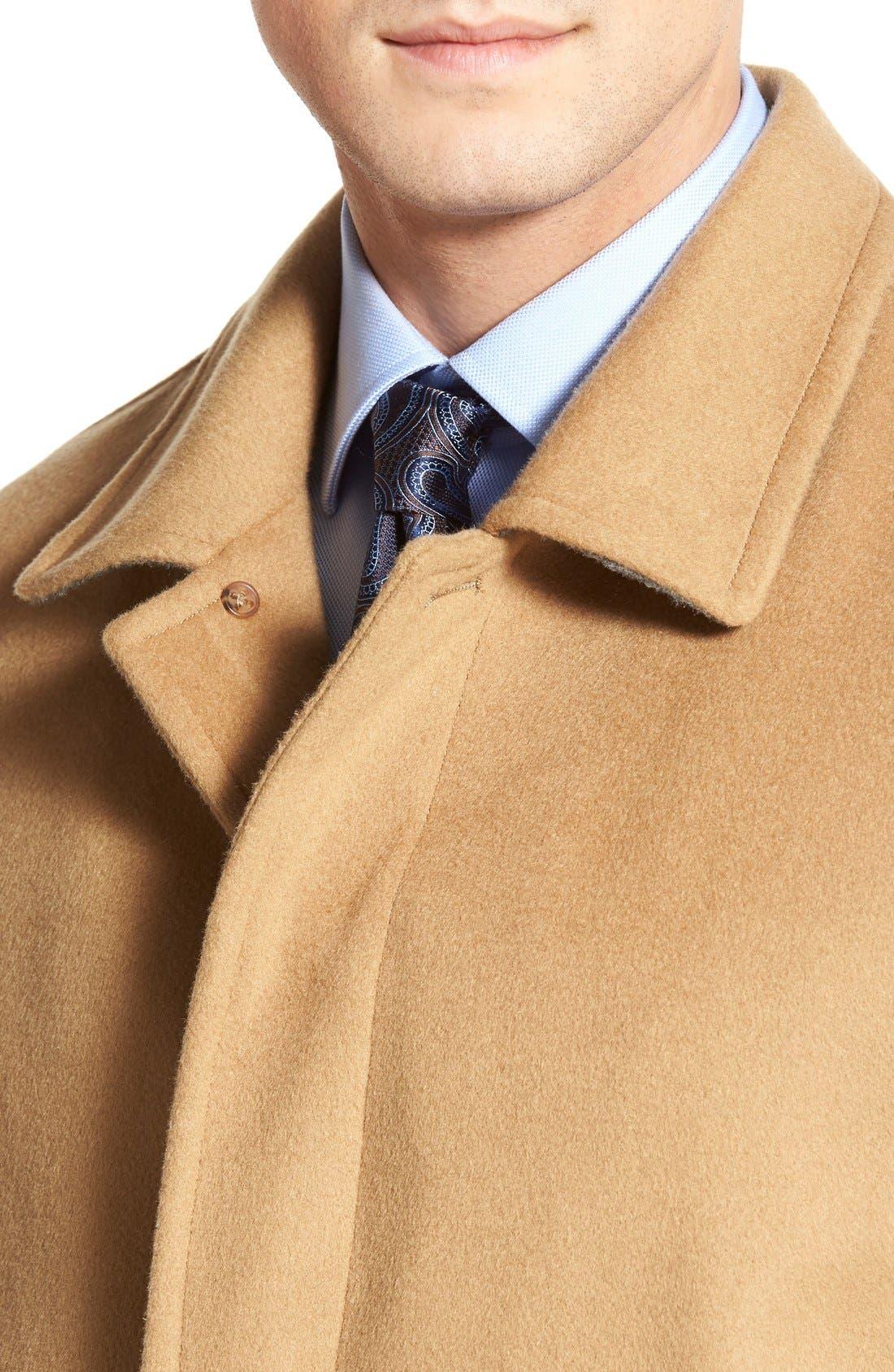 Douglas Modern Fit Wool & Cashmere Overcoat,                             Alternate thumbnail 4, color,                             Camel