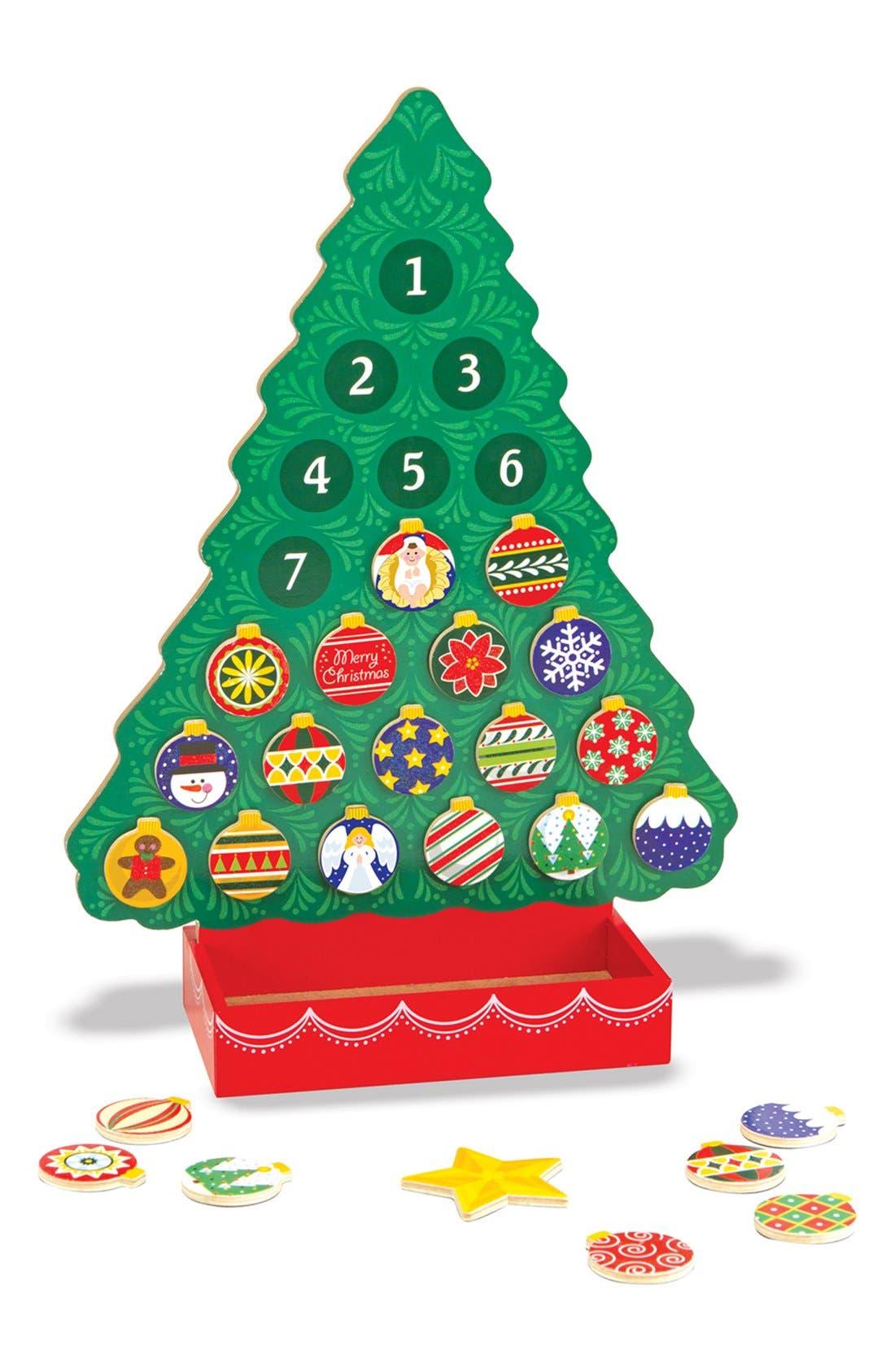 Wooden Advent Calendar,                         Main,                         color, Green