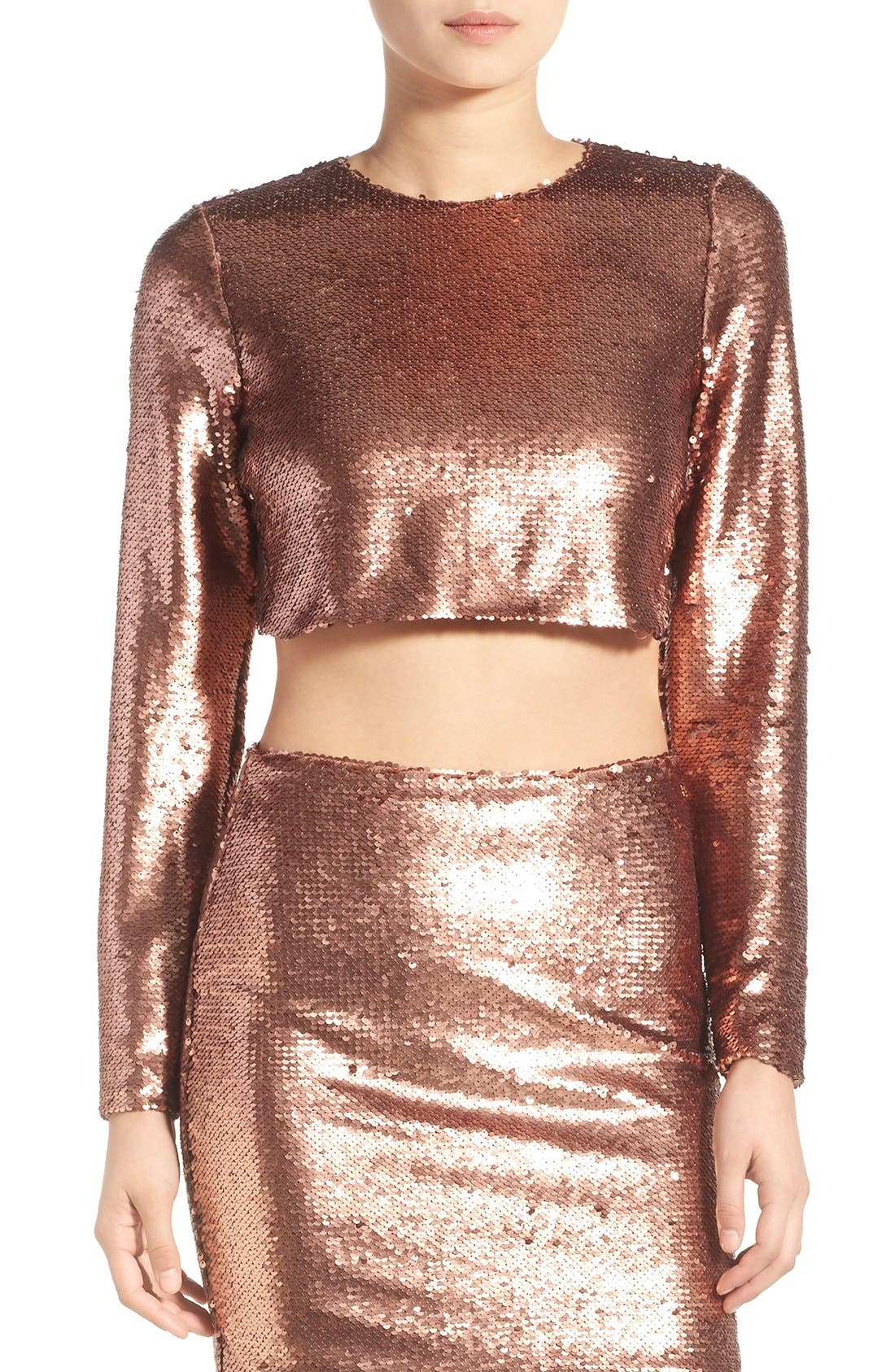 Main Image - Missguided Sequin Crop Top