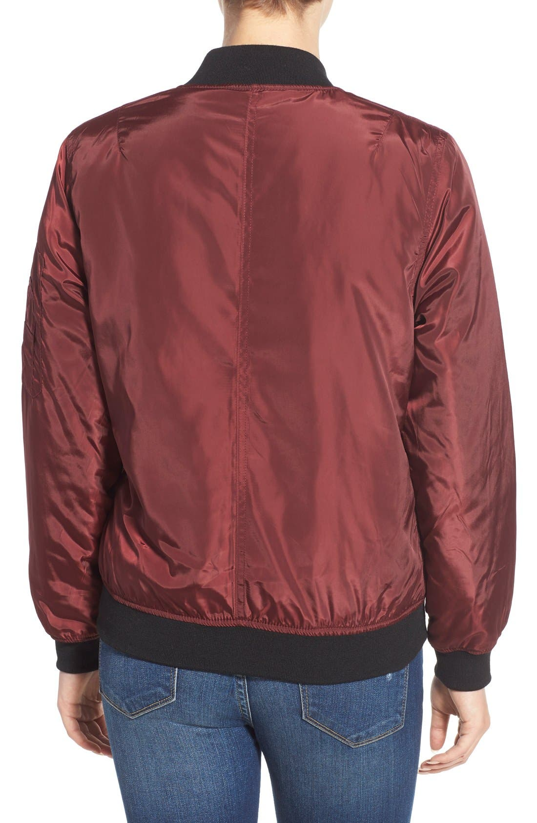 Bomber Jacket,                             Alternate thumbnail 2, color,                             Oxblood