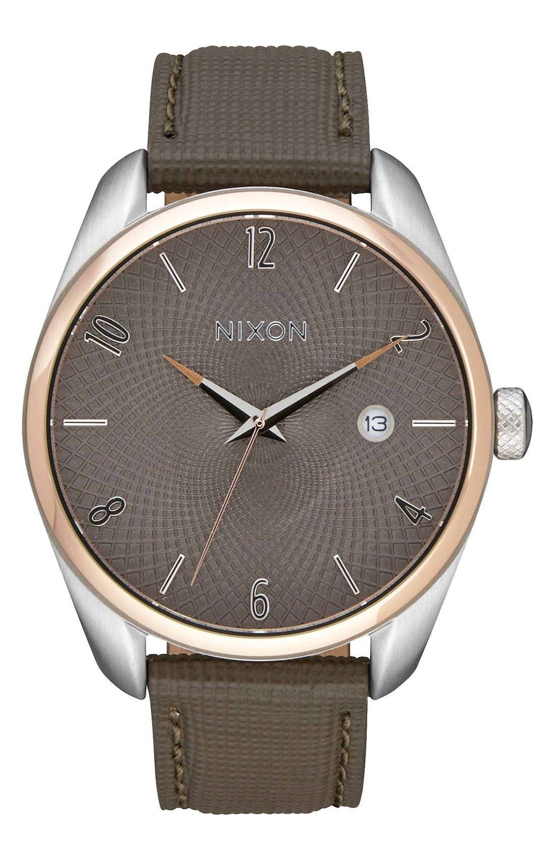 'Bullet' Leather Strap Watch, 38mm,                             Main thumbnail 1, color,                             Brown/ Rose Gold/ Taupe
