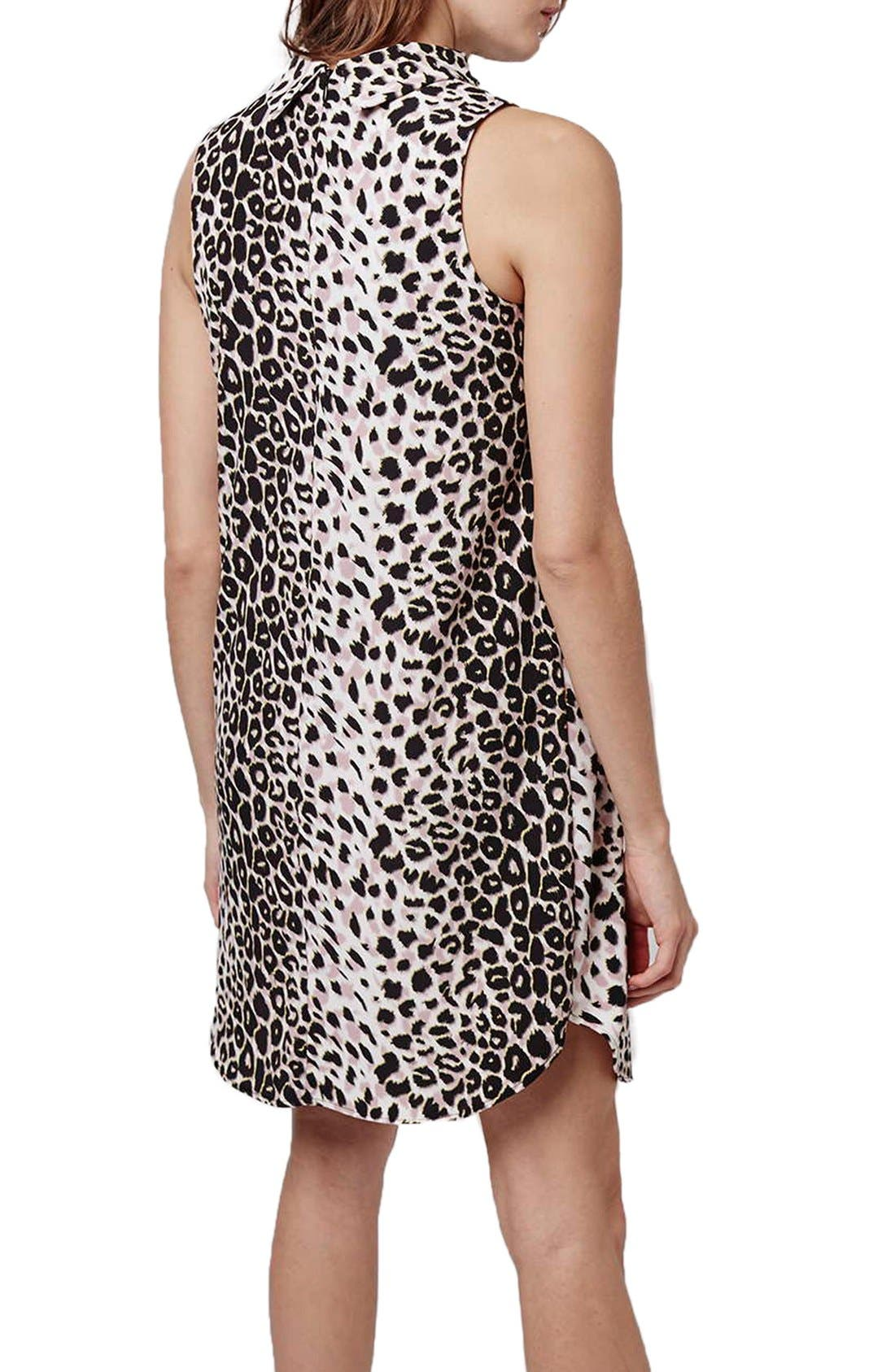 Leopard Print Funnel Neck Tunic Dress,                             Alternate thumbnail 3, color,                             Grey Multi