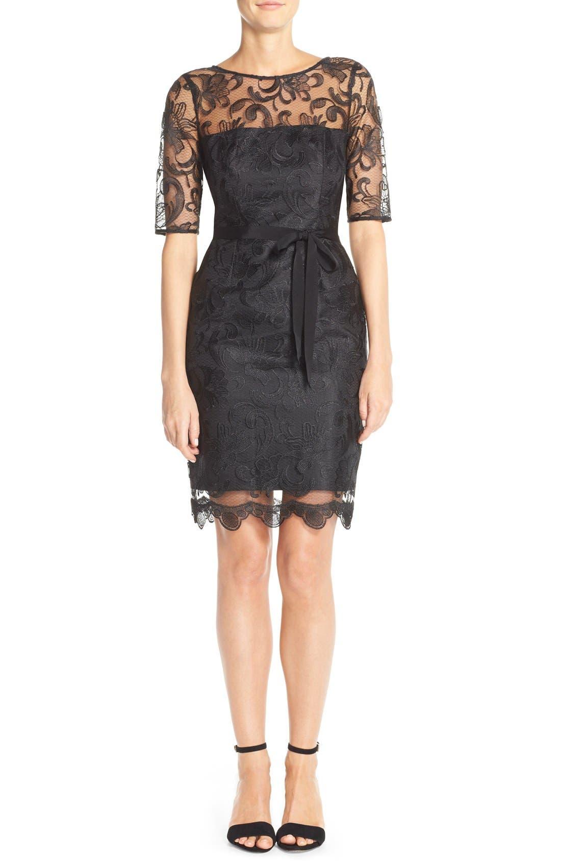 Illusion Yoke Lace Sheath Dress,                         Main,                         color, Black