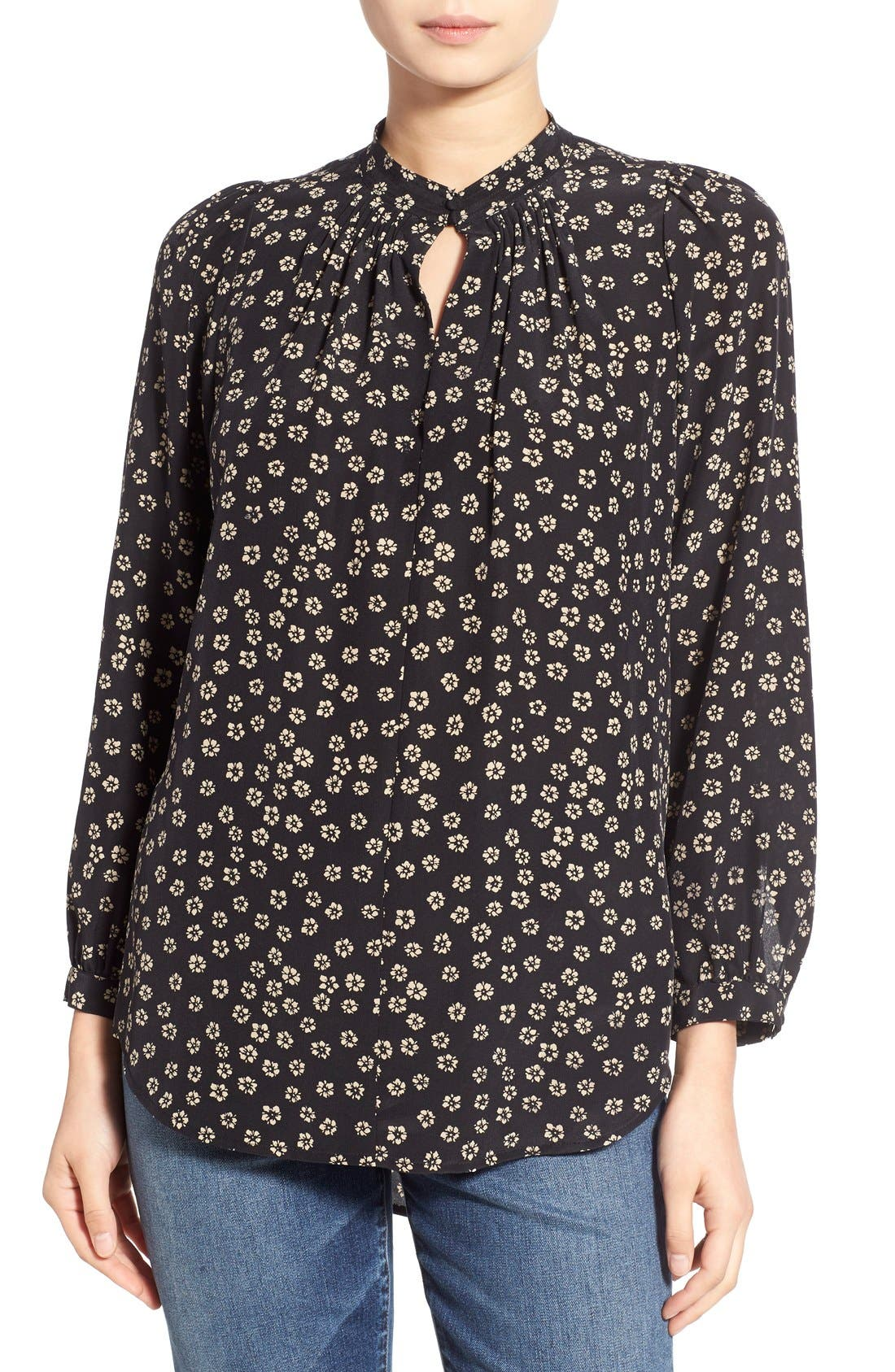 Floral Print Silk Blouse,                         Main,                         color, Charcoal Grey