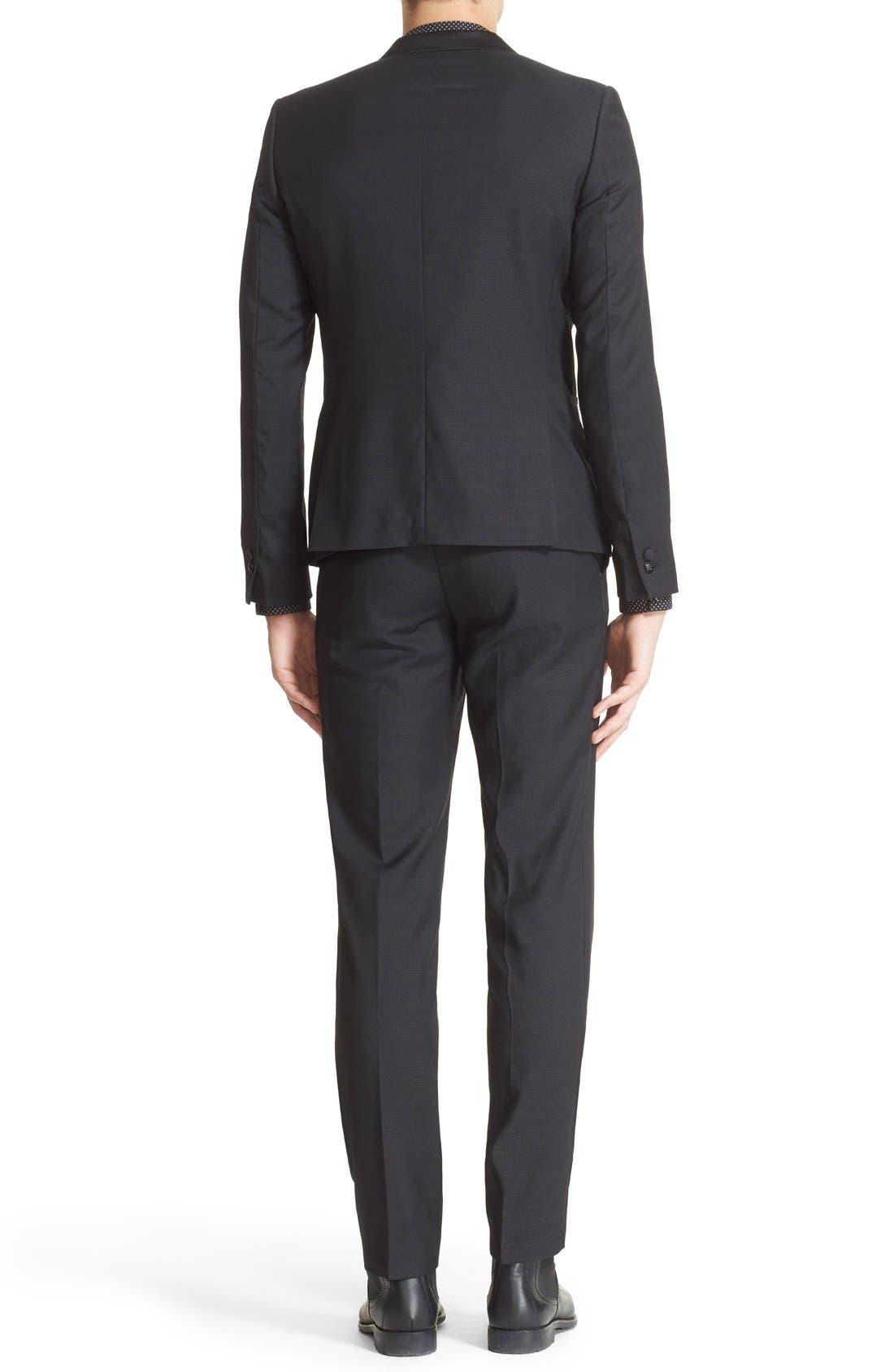 'Netting' Trim Fit Suit Jacket,                             Alternate thumbnail 2, color,                             Black
