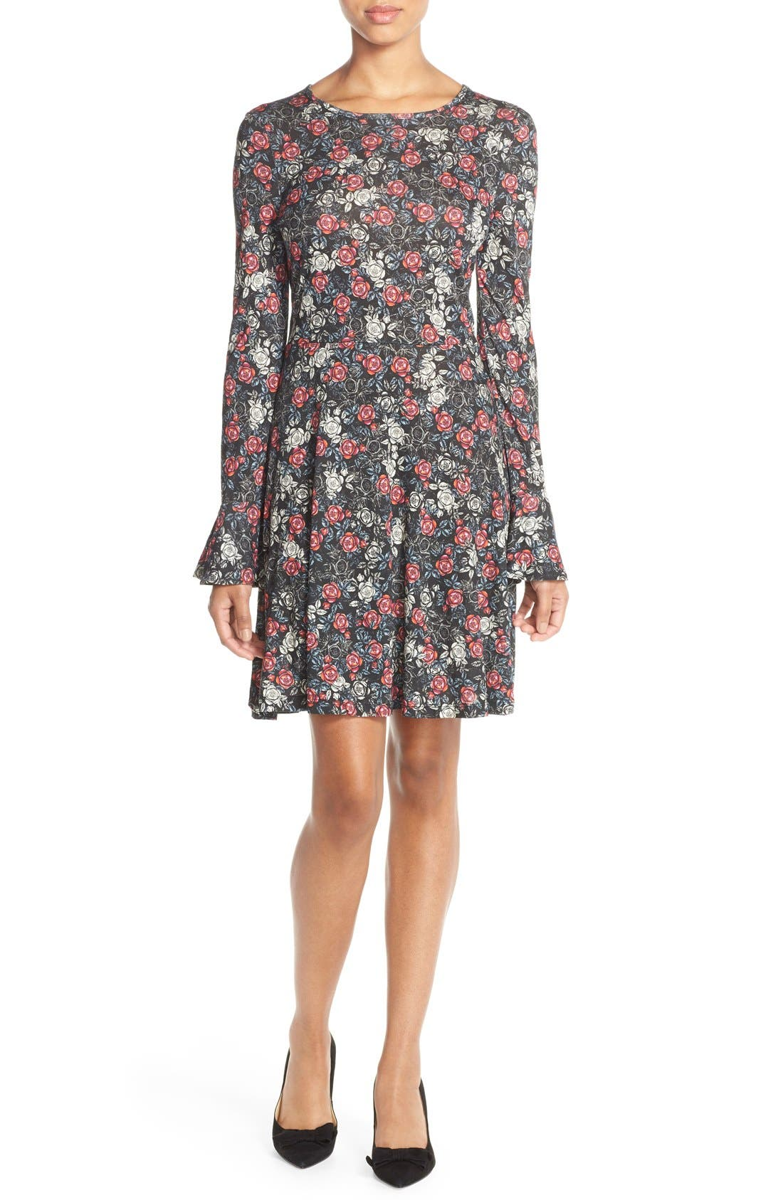 Alternate Image 1 Selected - French Connection Floral Print Jersey A-Line Dress