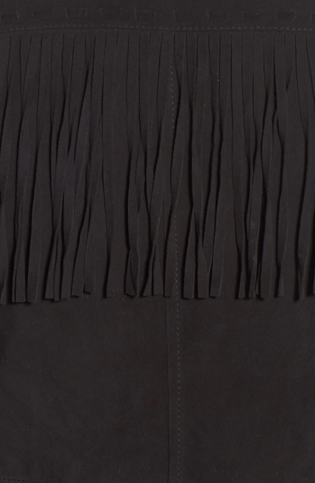 'Darlene' Suede Jacket,                             Alternate thumbnail 5, color,                             Black