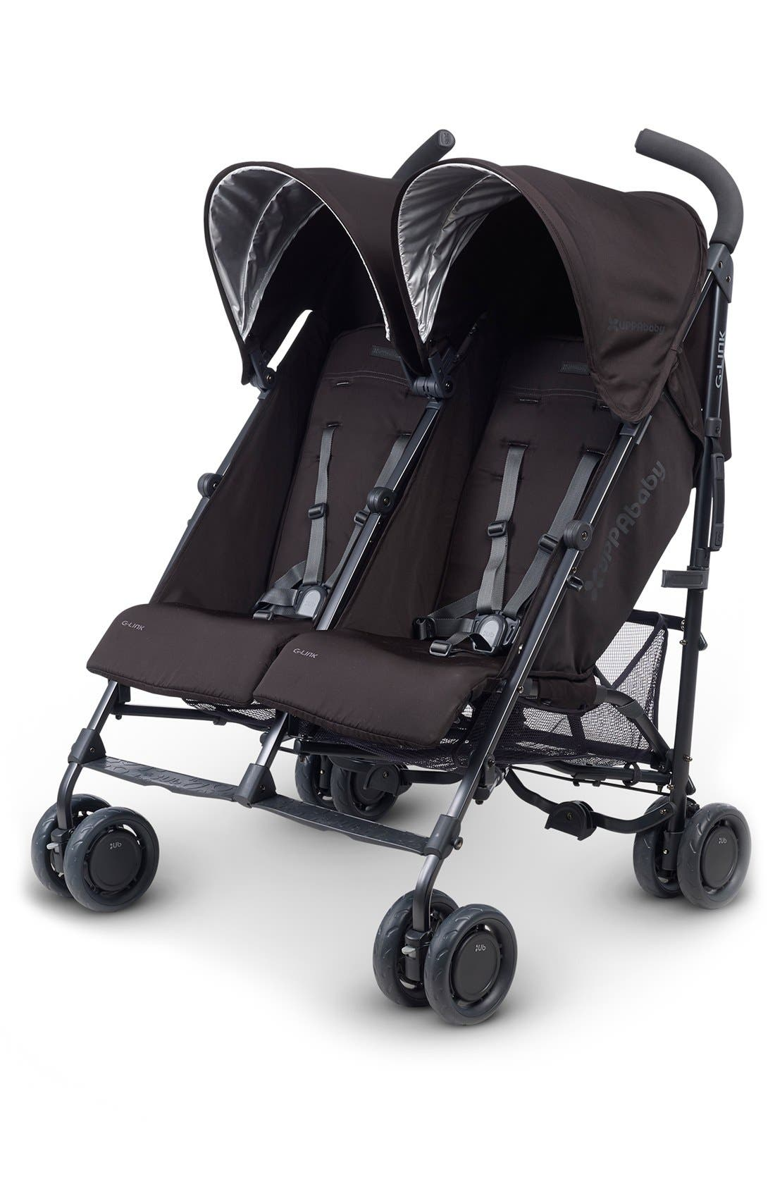 G-LINK Jake Aluminum Frame Reclining Side by Side Umbrella Stroller,                         Main,                         color, Black