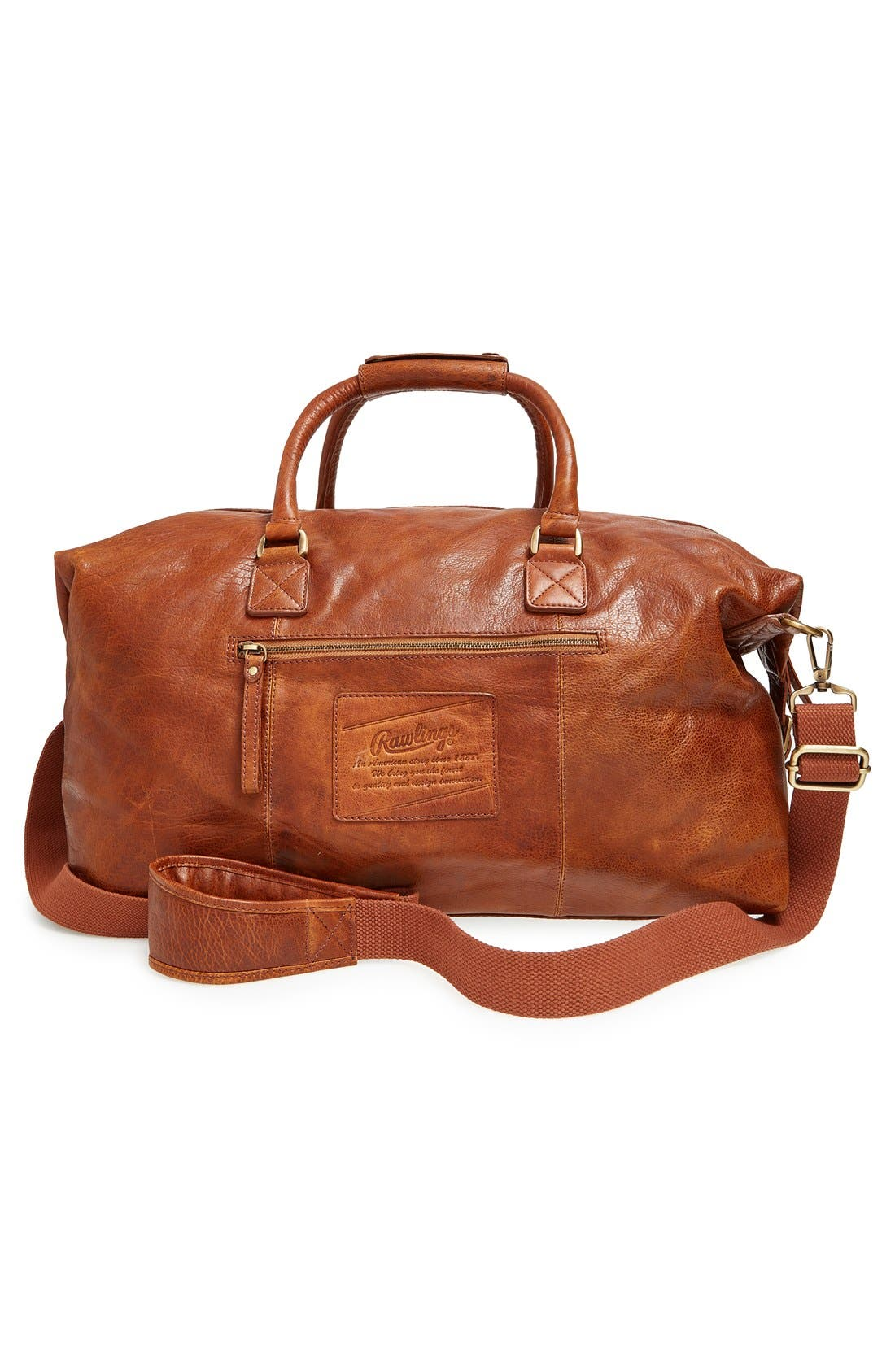 'Rugged' Leather Duffel Bag,                             Alternate thumbnail 3, color,                             Cognac