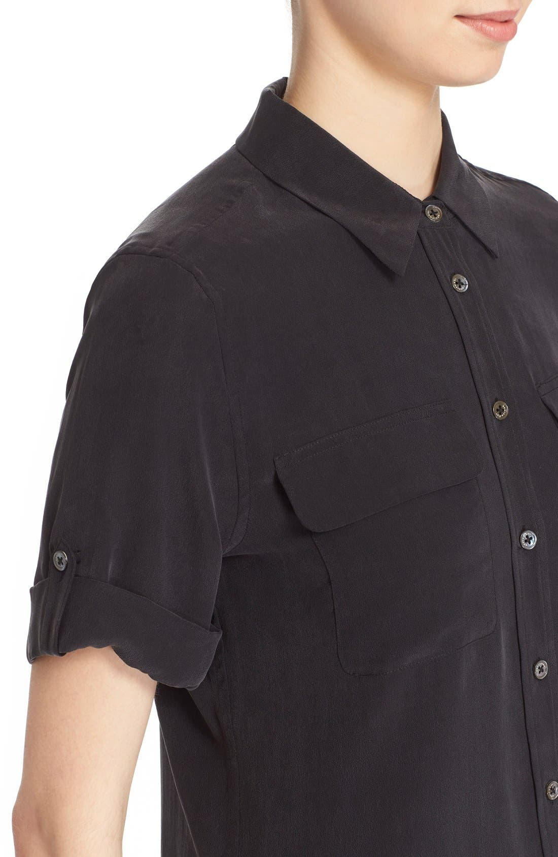 Alternate Image 4  - Equipment Slim Signature Short Sleeve Silk Shirt