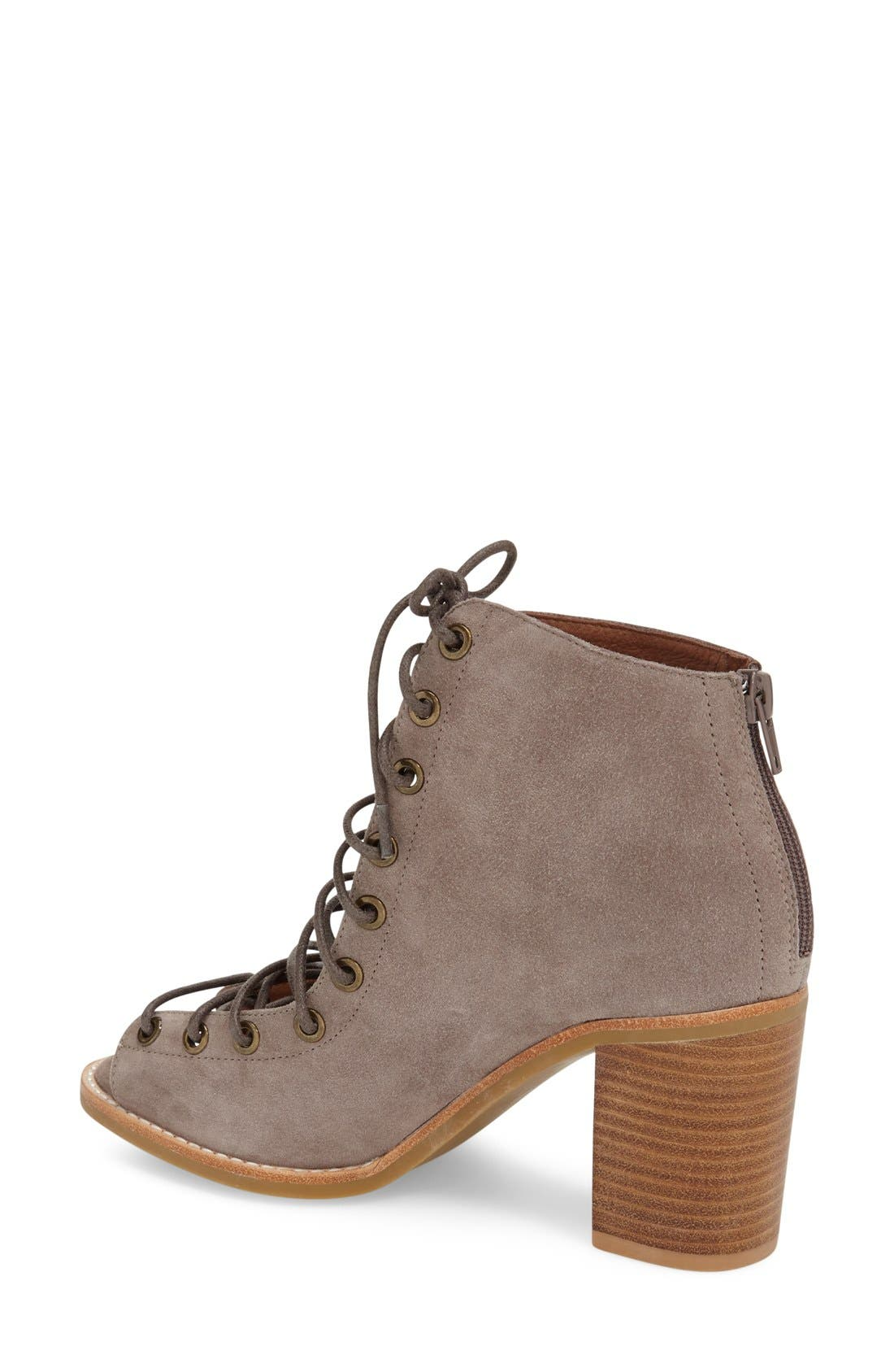 'Cors' Suede Peep Toe Bootie,                             Alternate thumbnail 2, color,                             Taupe Suede