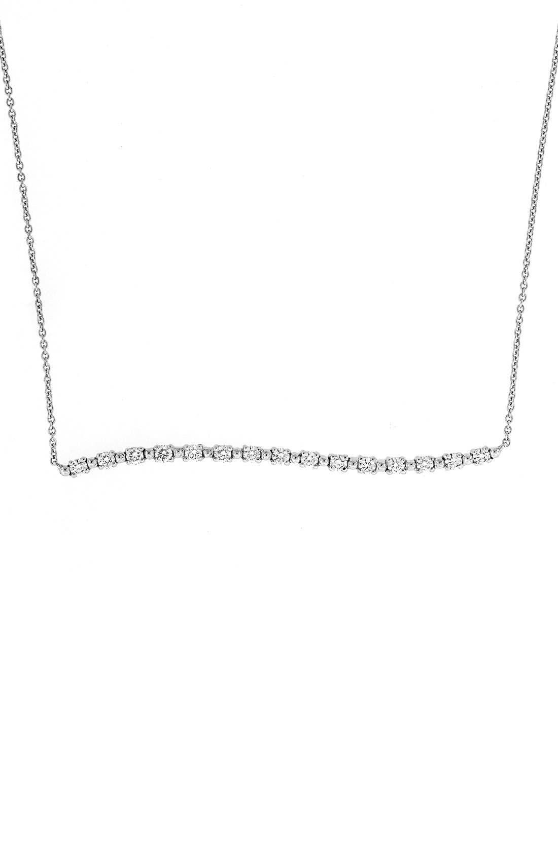 Main Image - Bony Levy Wavy Bar Diamond Pendant Necklace (Nordstrom Exclusive)