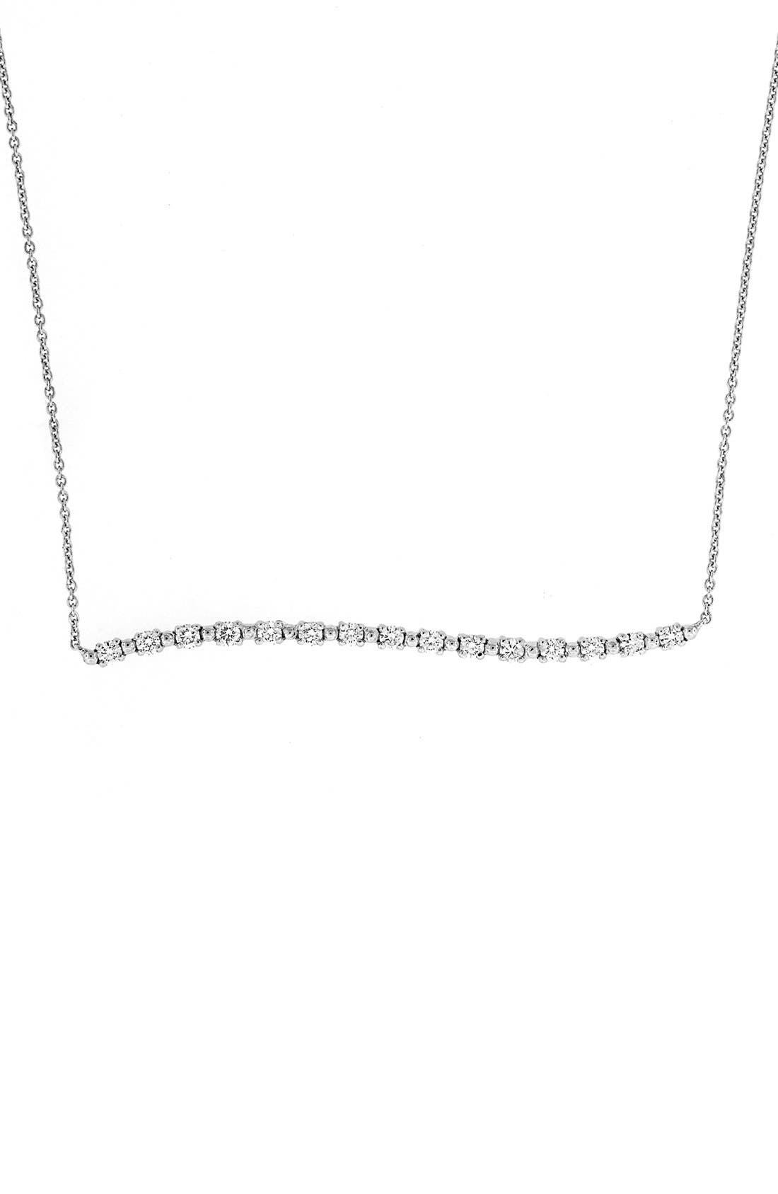 Wavy Bar Diamond Pendant Necklace,                         Main,                         color, White Gold