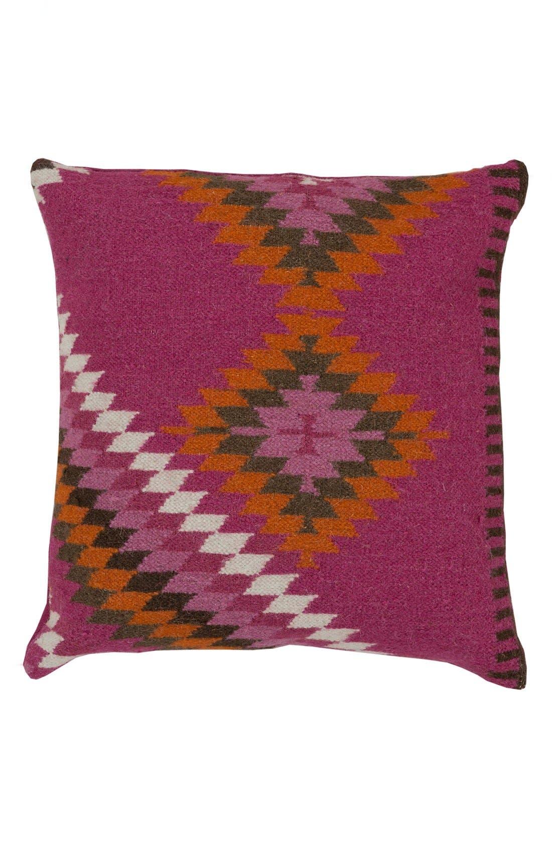 Kilim Wool Accent Pillow Cover,                         Main,                         color, Magenta/ Beige/ Burnt Orange