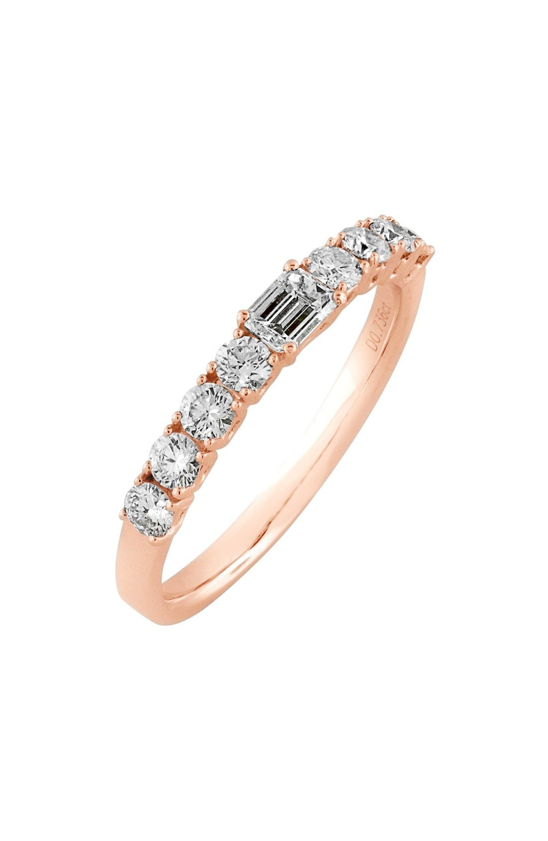 'Liora' Stackable Emerald Cut Diamond Ring,                             Main thumbnail 1, color,                             Rose Gold