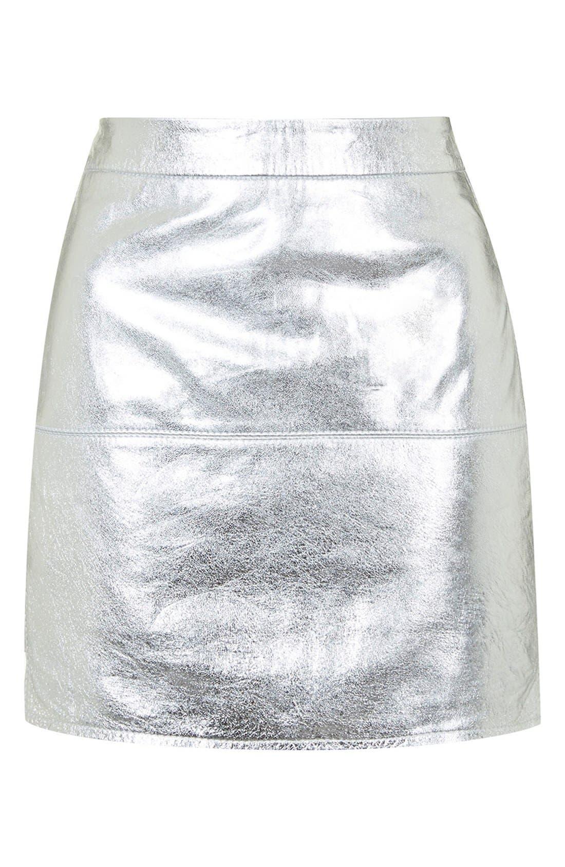 Alternate Image 4  - KENDALL + KYLIE at Topshop Metallic Leather Miniskirt