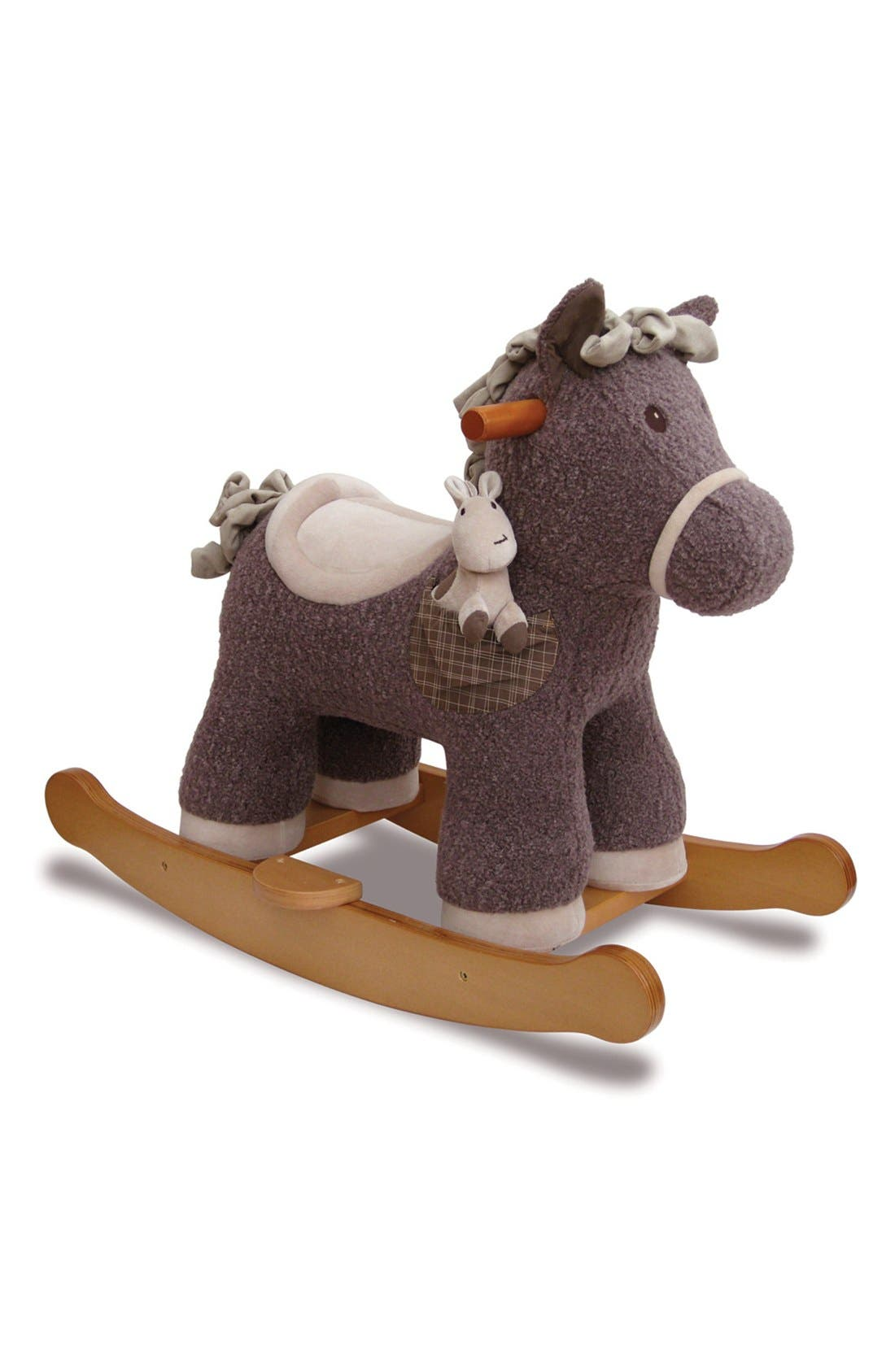 Rocking Horse & Stuffed Animal,                         Main,                         color, Brown