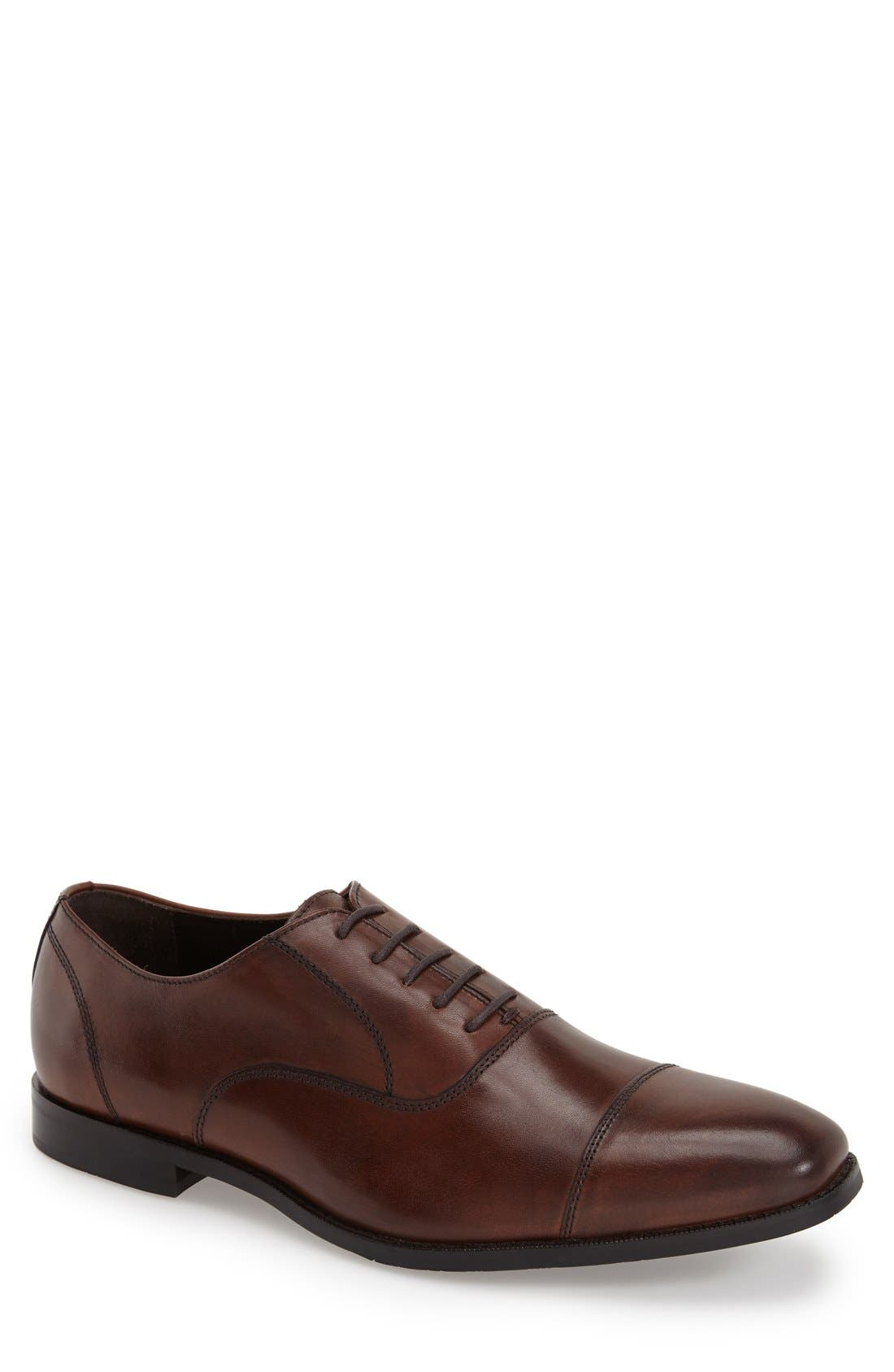 'Dillon' Cap Toe Oxford,                         Main,                         color, Chestnut Leather