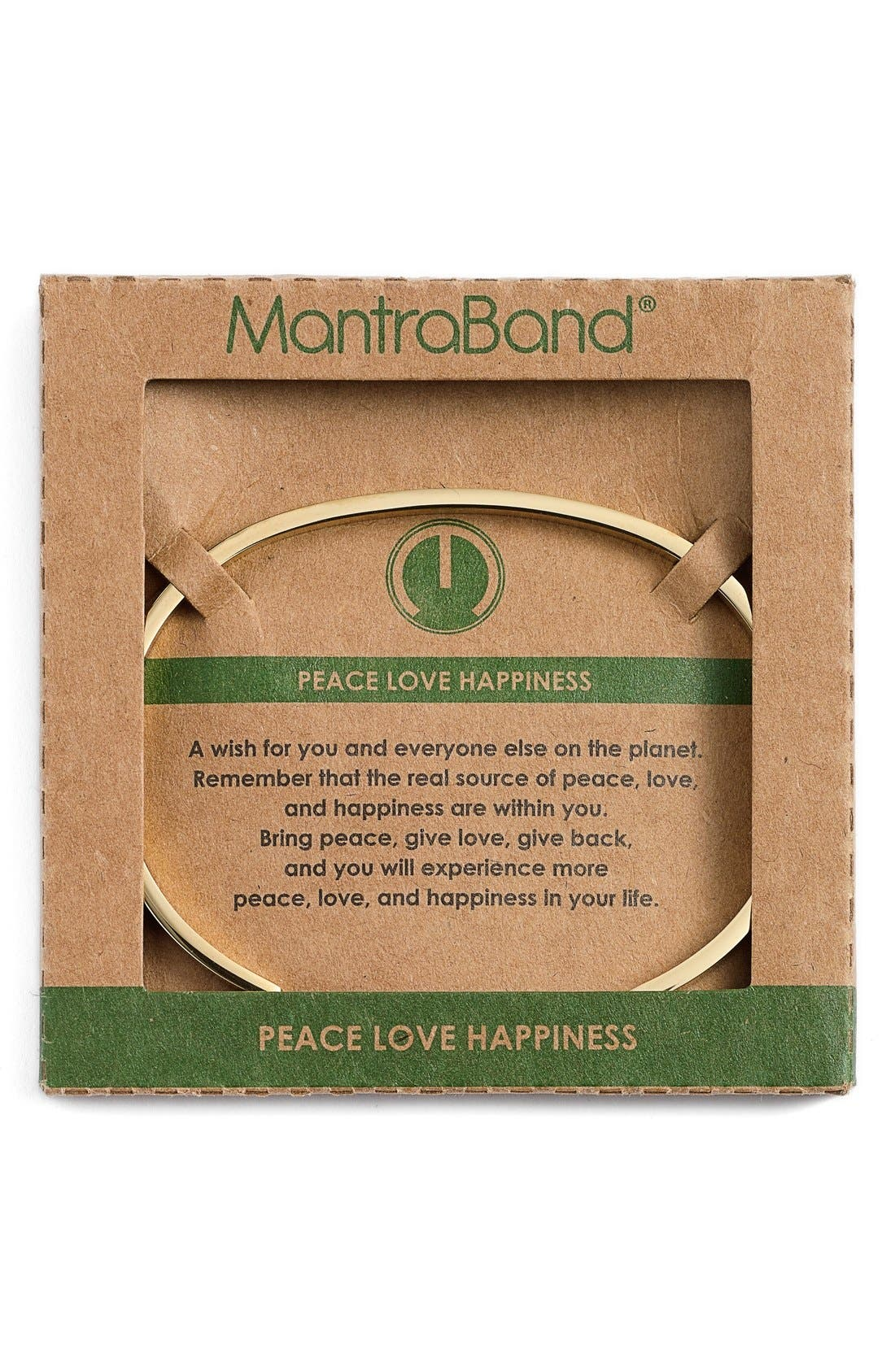 """""""Peace Love Happiness"""" Cuff,                             Alternate thumbnail 2, color,                             Gold"""
