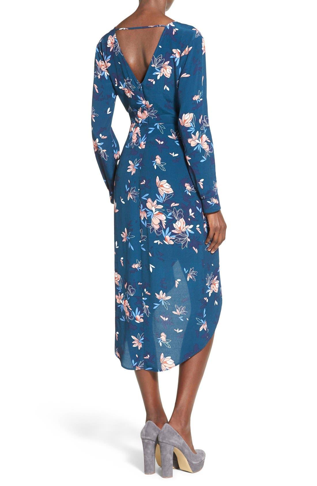 ASTR Wrap Front High/Low Dress,                             Alternate thumbnail 2, color,                             Teal Multi Floral