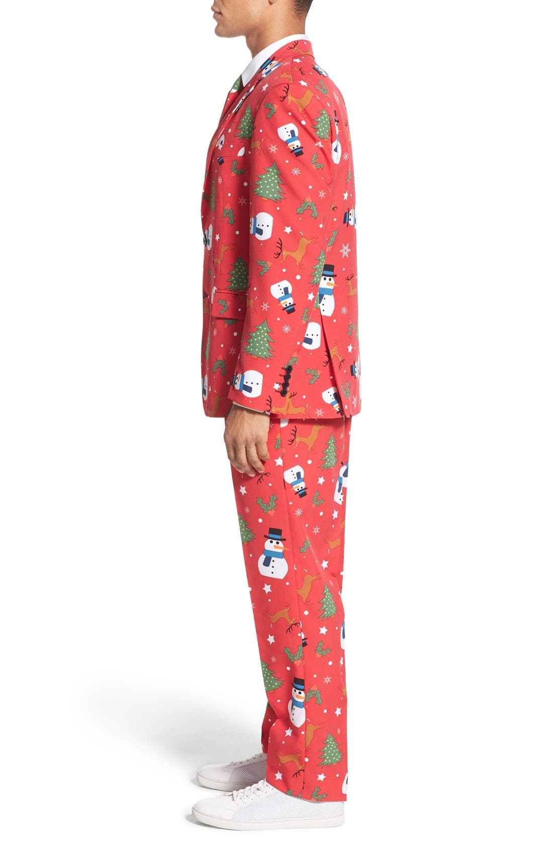 'Christmaster' Holiday Suit & Tie,                             Alternate thumbnail 3, color,                             Red